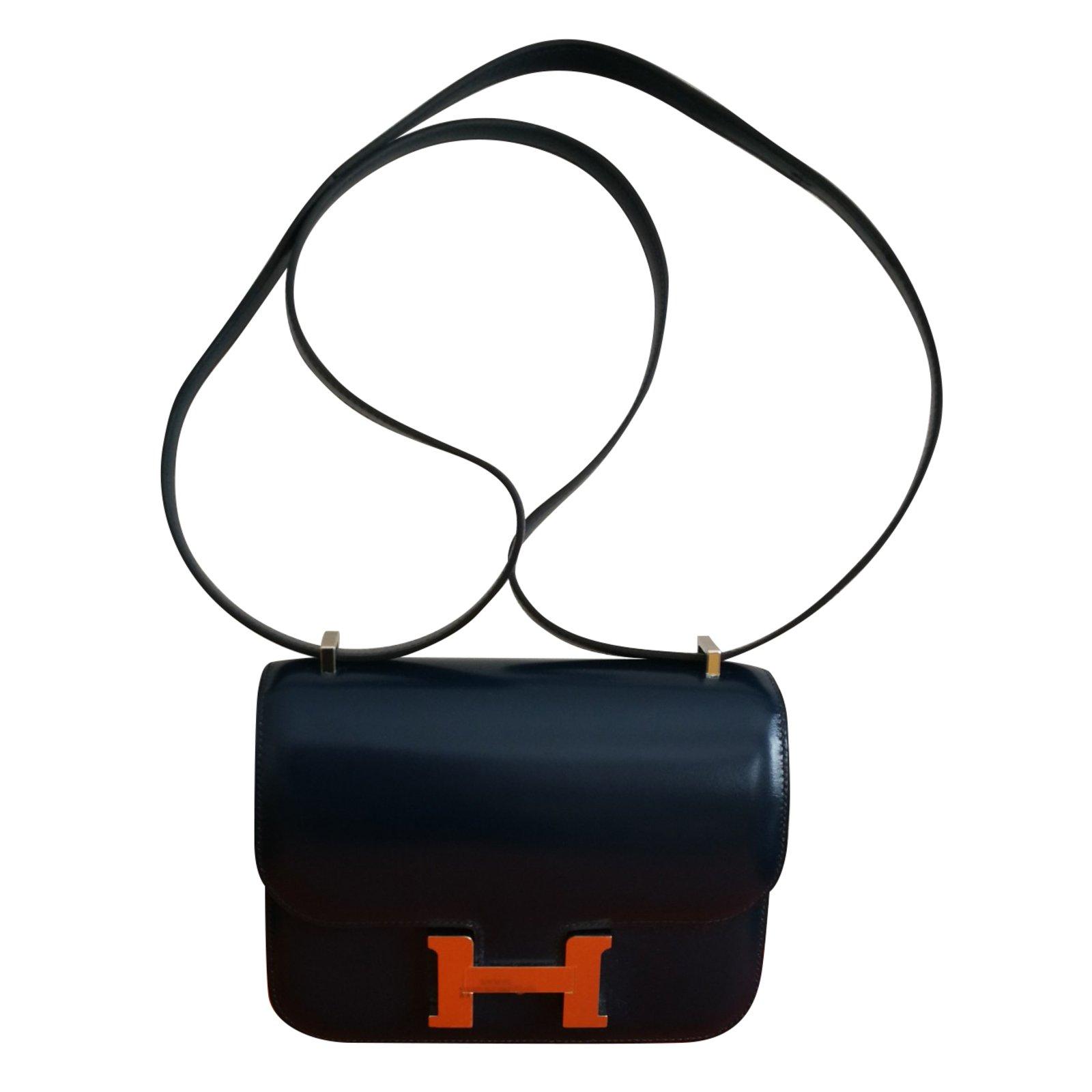 06bfcbbf93 Facebook · Pin This. Hermès Constance Mini Handbags Leather Navy blue ref .77775