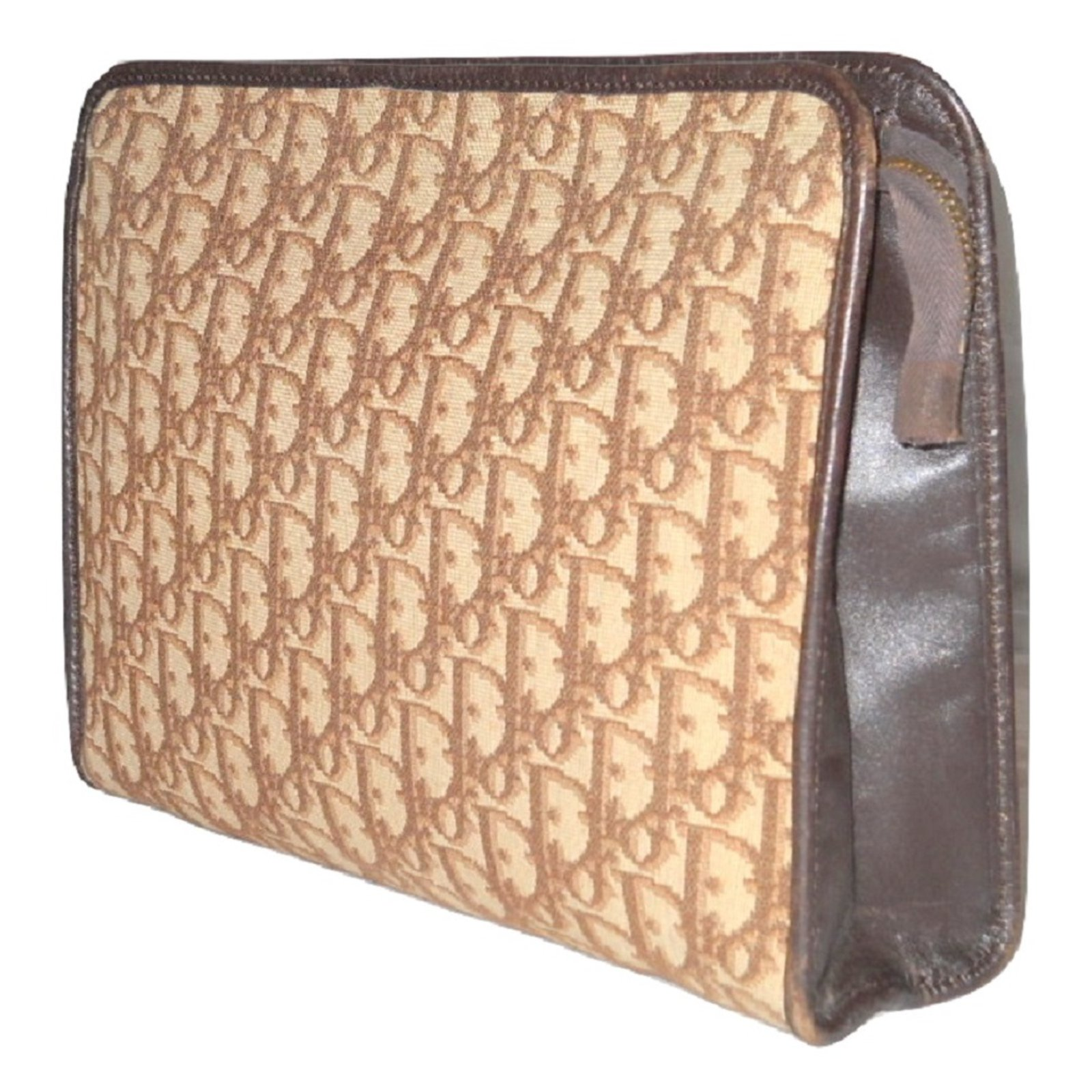 55ed0339c Christian Dior Vintage toiletry bag Wallets Small accessories Leather,Cloth  Brown,Cream ref.79179 - Joli Closet