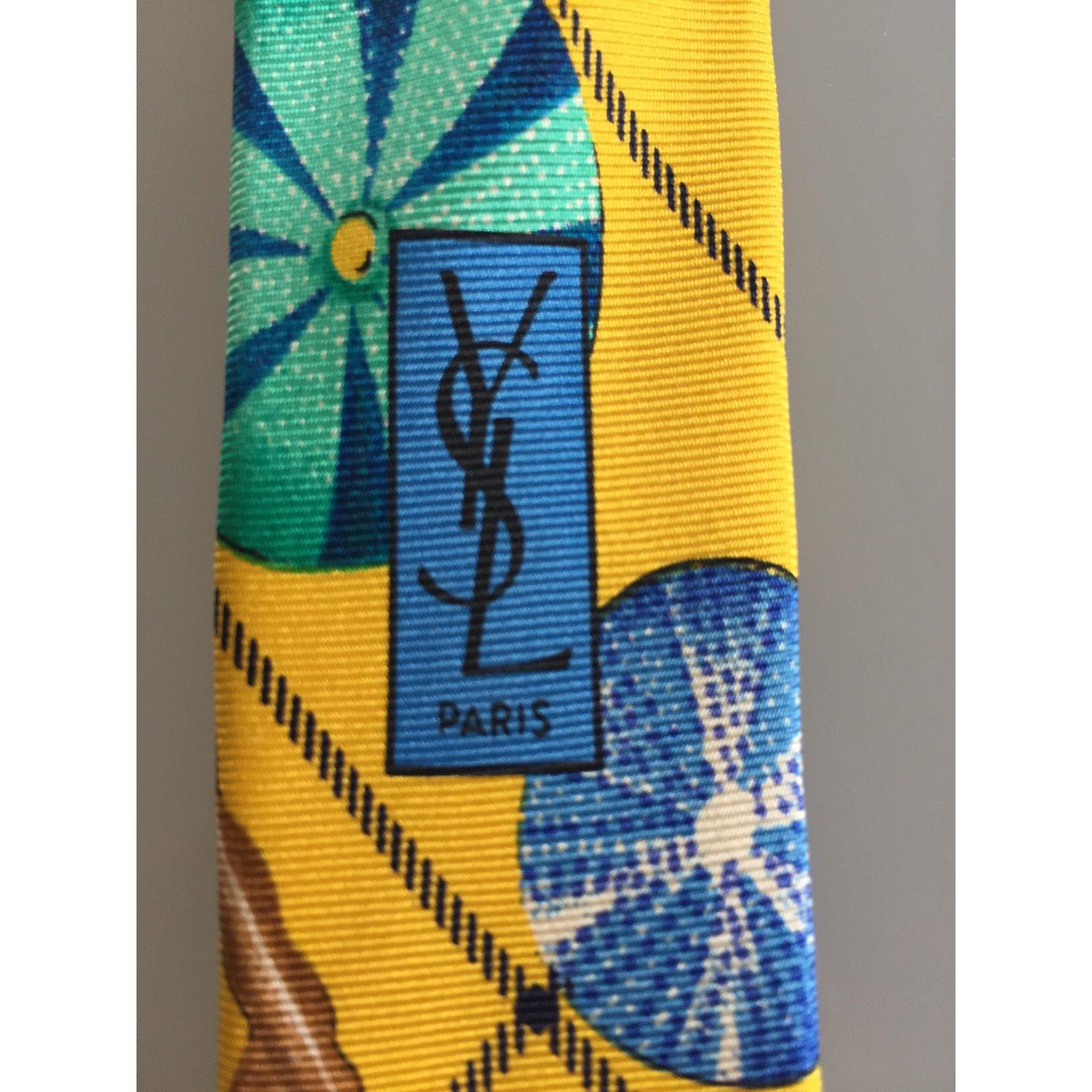 72ef6320e850 Yves Saint Laurent ties Ties Silk Blue,Yellow ref.79456 - Joli Closet