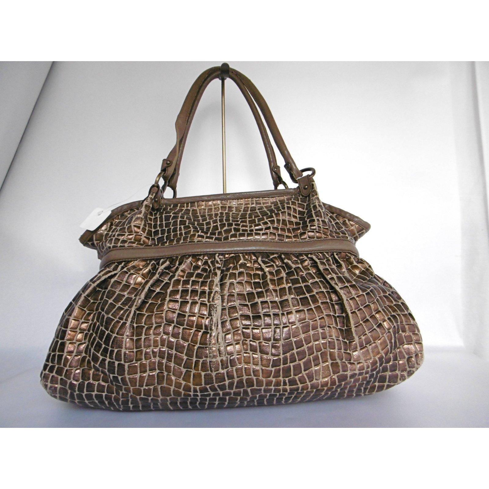 6f5ec74d28 Fendi Canvas Leather Metallic Bronze Tote Bag Handbags Leather