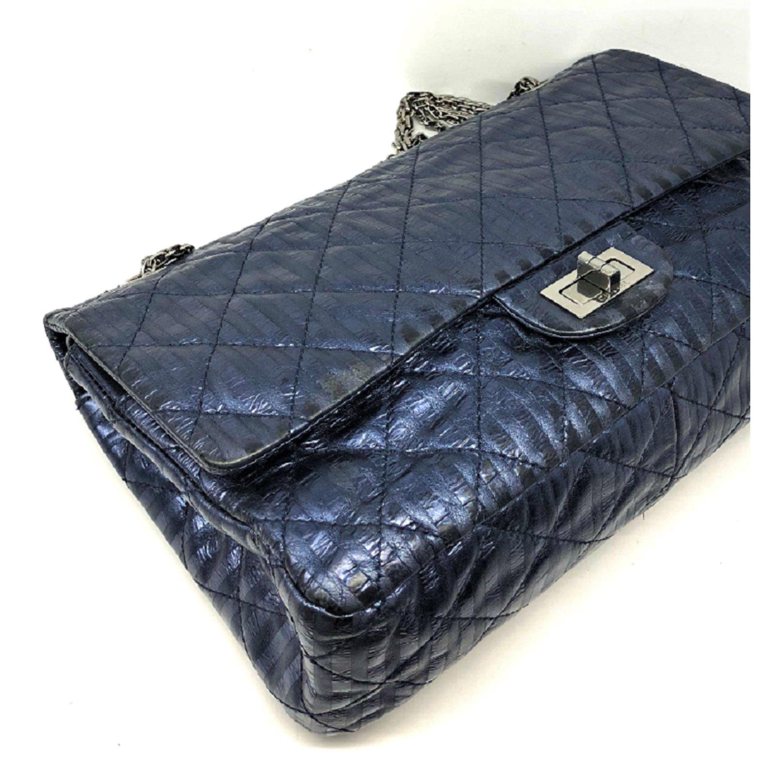 eb756fa045ea47 Chanel Chanel 2.55 stripped metallic navy blue reissue lined flap bag  Handbags Leather Blue ref.80037 - Joli Closet