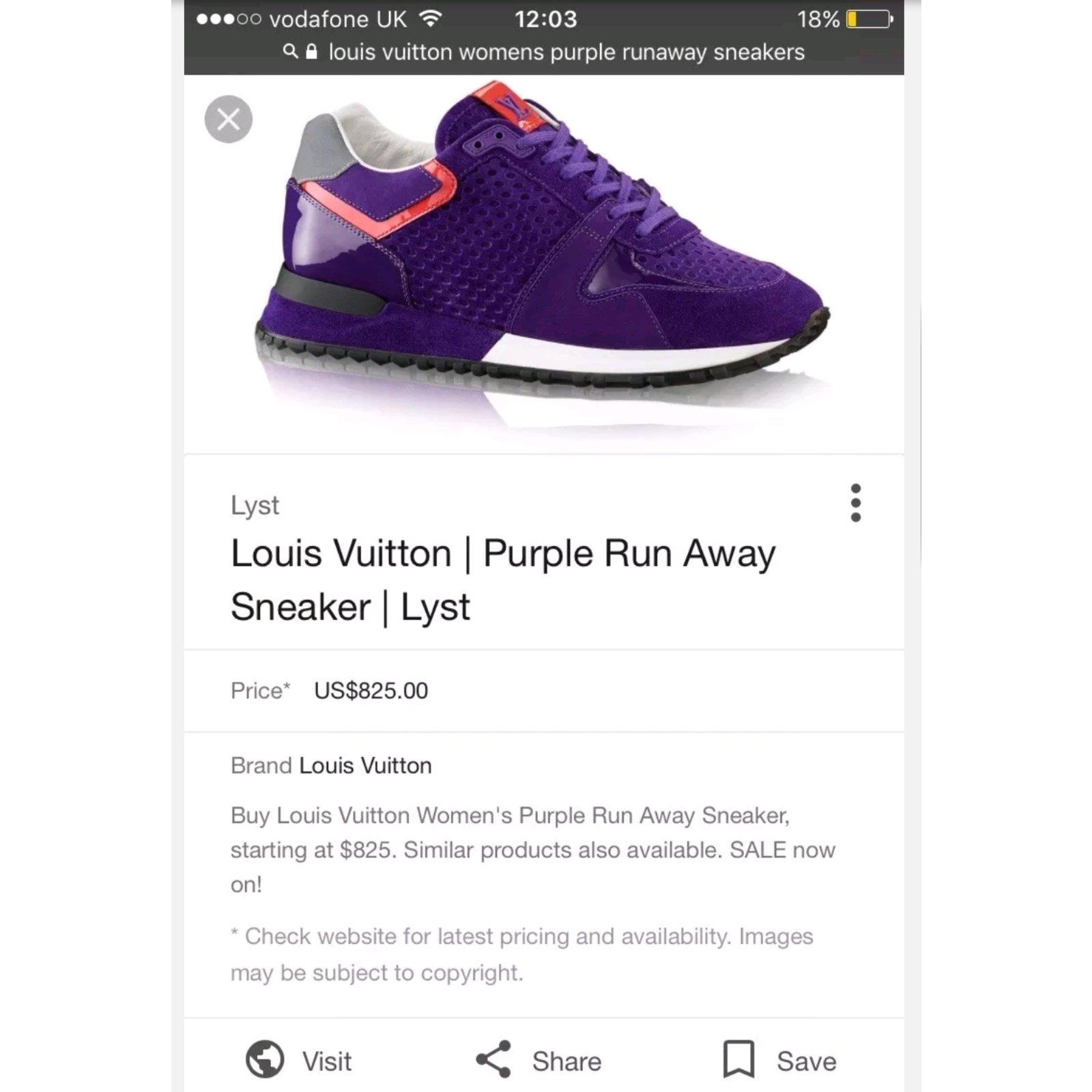 714f56c662a4 Louis Vuitton Louis Vuitton run away purple sneakers trainers size 6 eu 39 Sneakers  Suede
