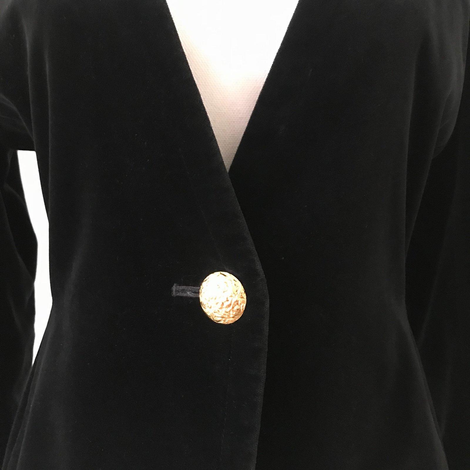 8541130501d Yves Saint Laurent Jackets Jackets Velvet Black ref.80558 - Joli Closet
