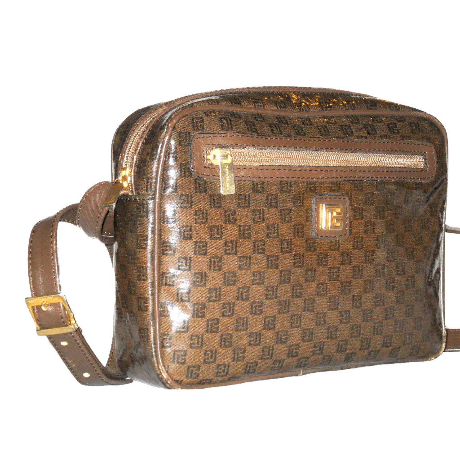 Pierre Balmain Handbags Leather Cloth Plastic Brown Ref 81208 Joli Closet