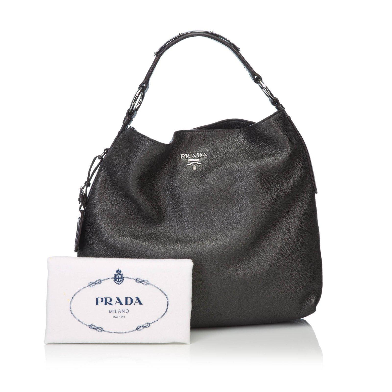be1a4b5ea895 Prada Leather Hobo Handbags Leather,Other Grey ref.82092 - Joli Closet