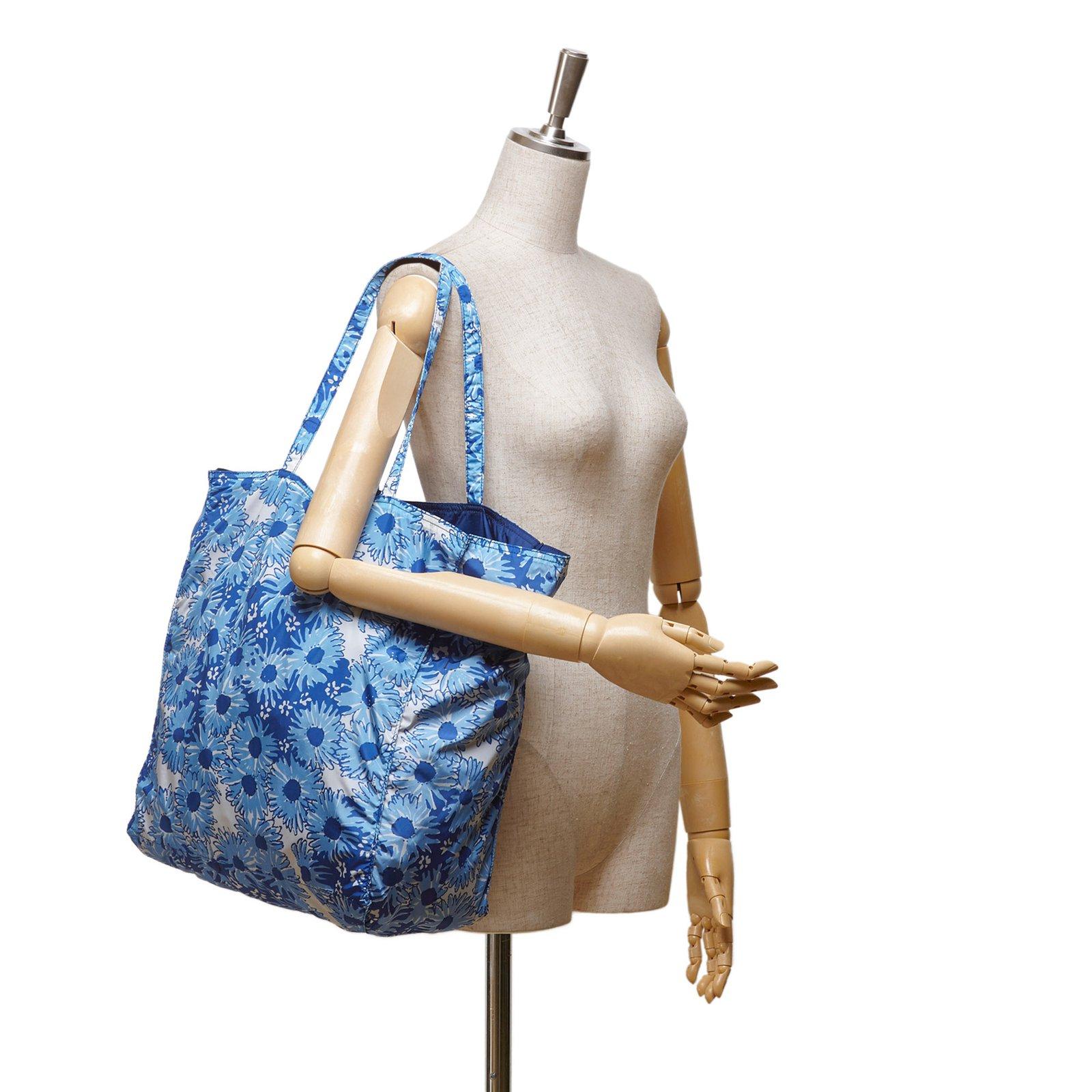 24d787782287 Prada Floral Nylon Tote Bag Totes Nylon,Cloth White,Blue,Light blue  ref.82466 - Joli Closet