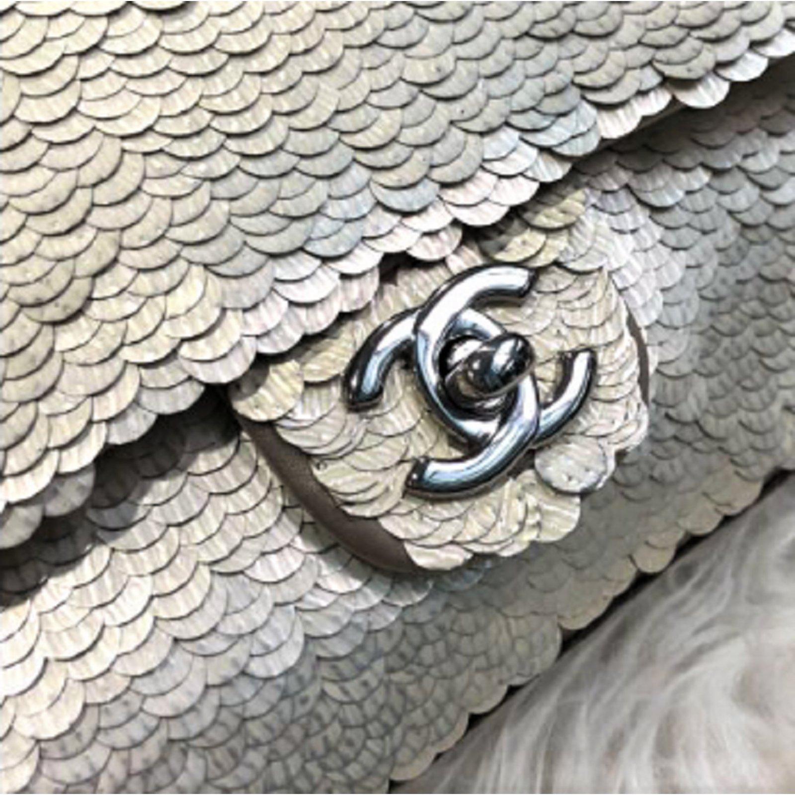 d420d86727a7 Chanel Chanel silver sequin mini flap bag Handbags Silk Silvery ref.83497 -  Joli Closet