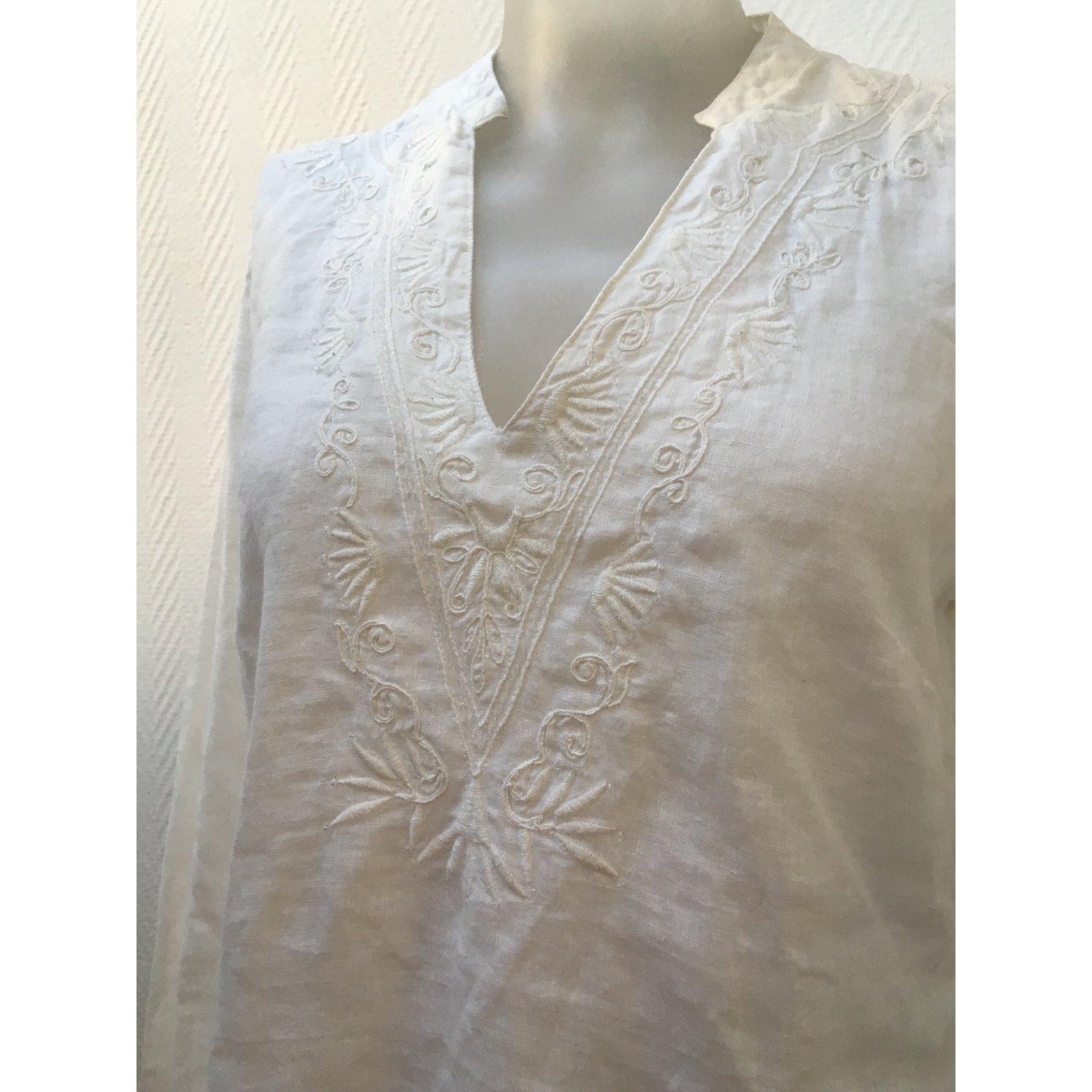 2854c120be65b Zara Tops Tops Linen White ref.84613 - Joli Closet