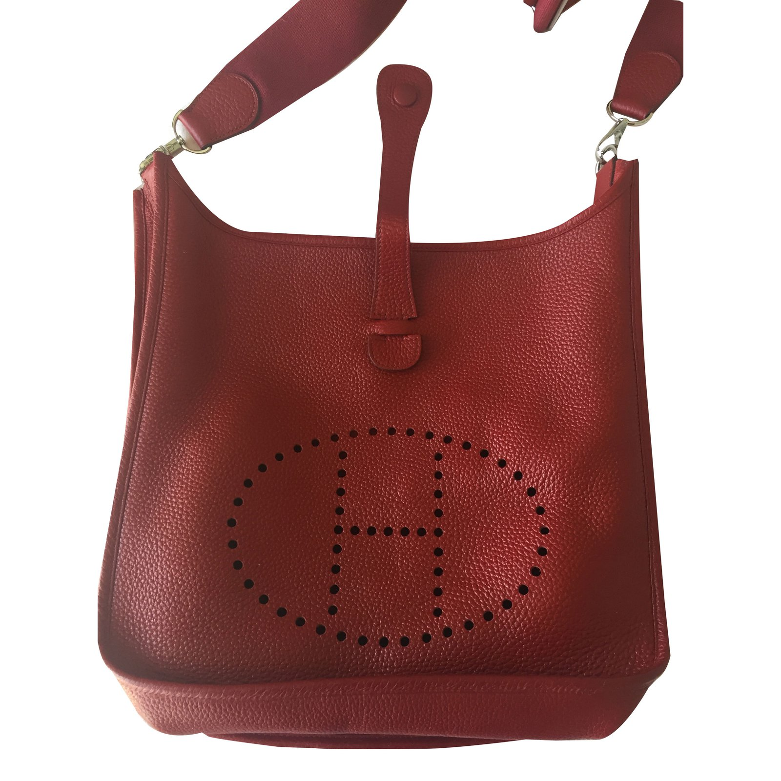 ffddfa0472b9 Facebook · Pin This. Hermès Evelyne III 33 GM Handbags Leather Red ...