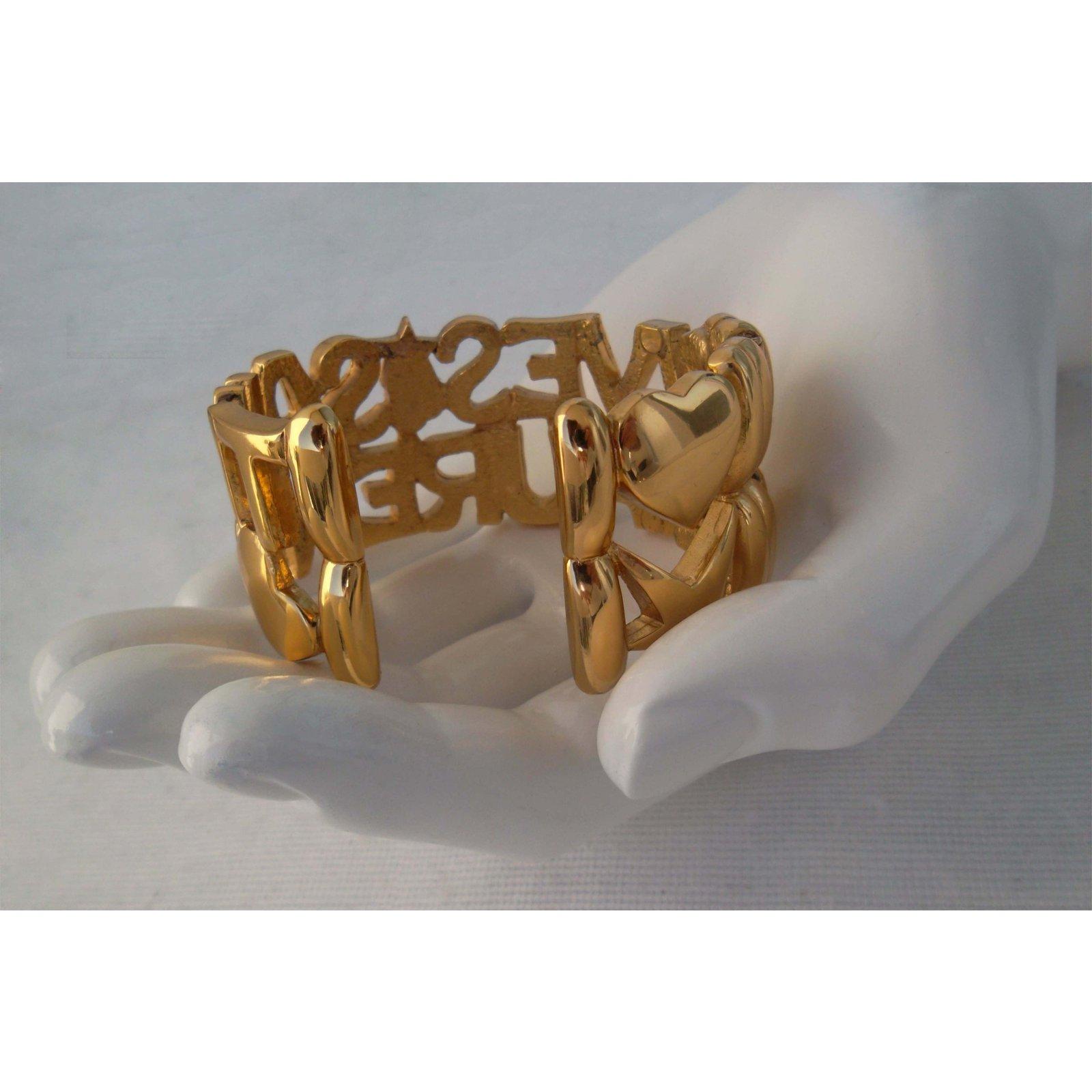 63858d59412 Yves Saint Laurent LOGO CUFF Bracelets Gold-plated Golden ref.84773 - Joli  Closet
