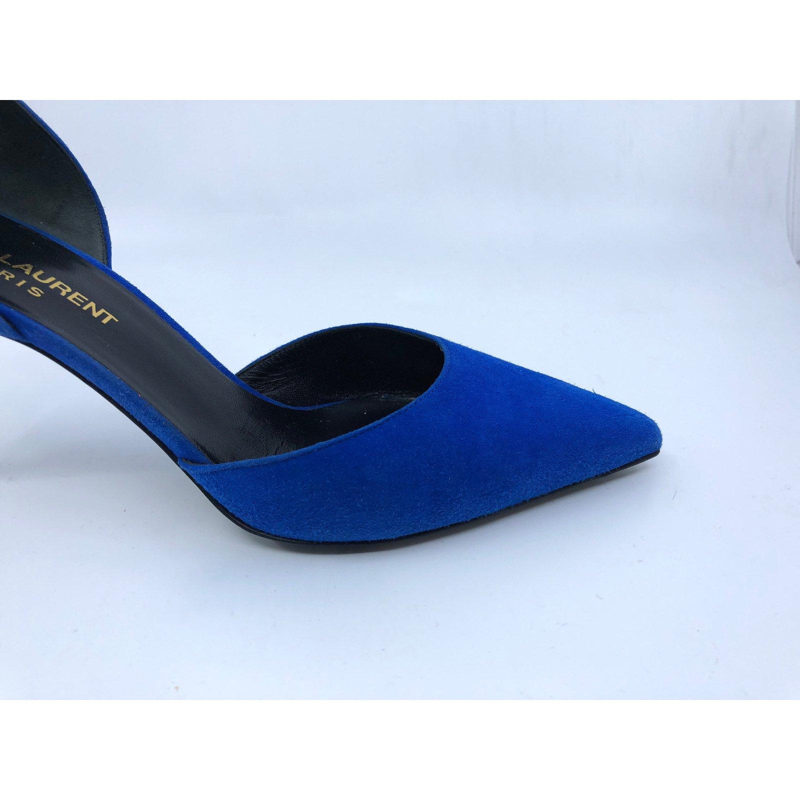 5cc031d9d8d Facebook · Pin This. Yves Saint Laurent Heels Heels Deerskin Blue ref.84974