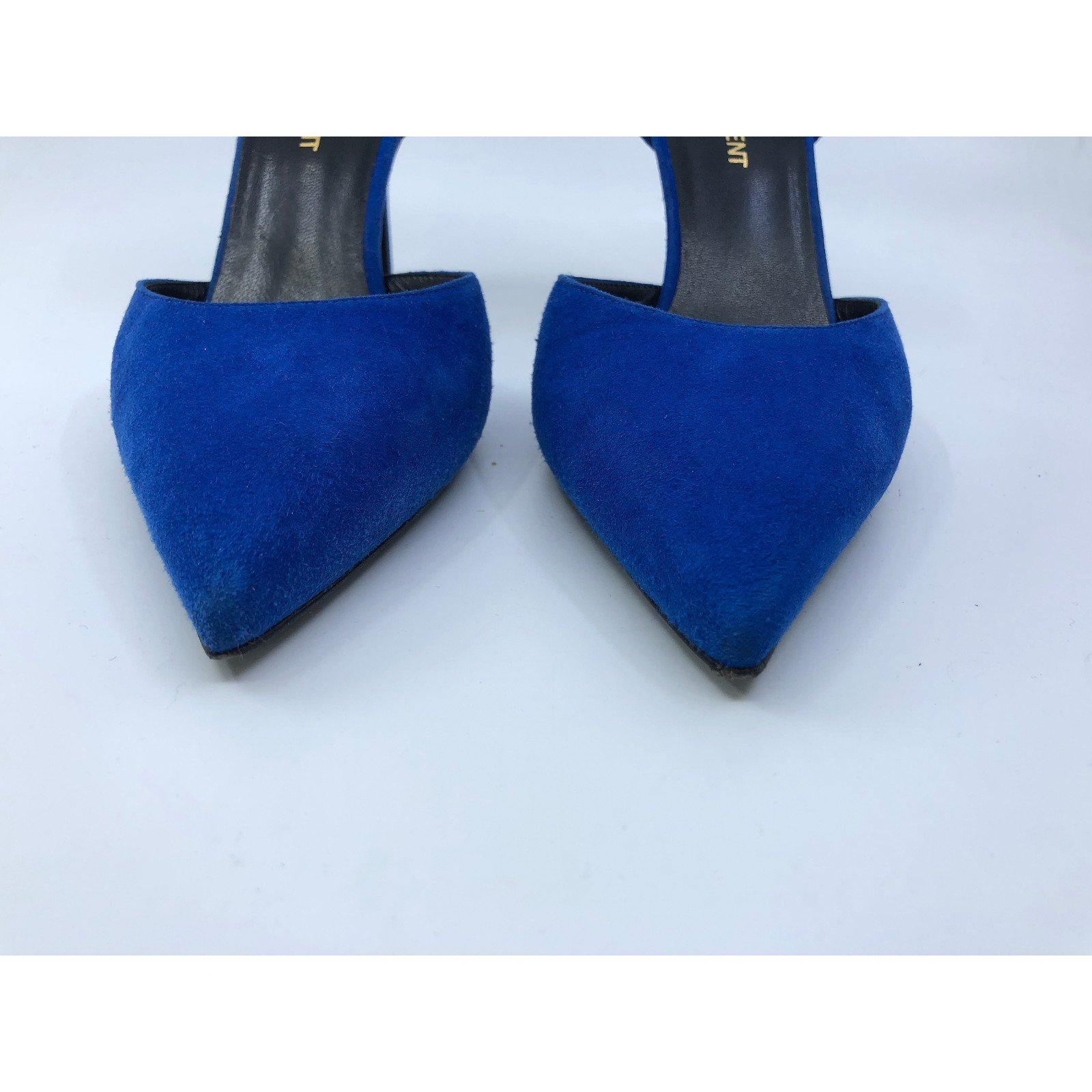 6cd3ae5da8e Yves Saint Laurent Heels Heels Deerskin Blue ref.84974 - Joli Closet
