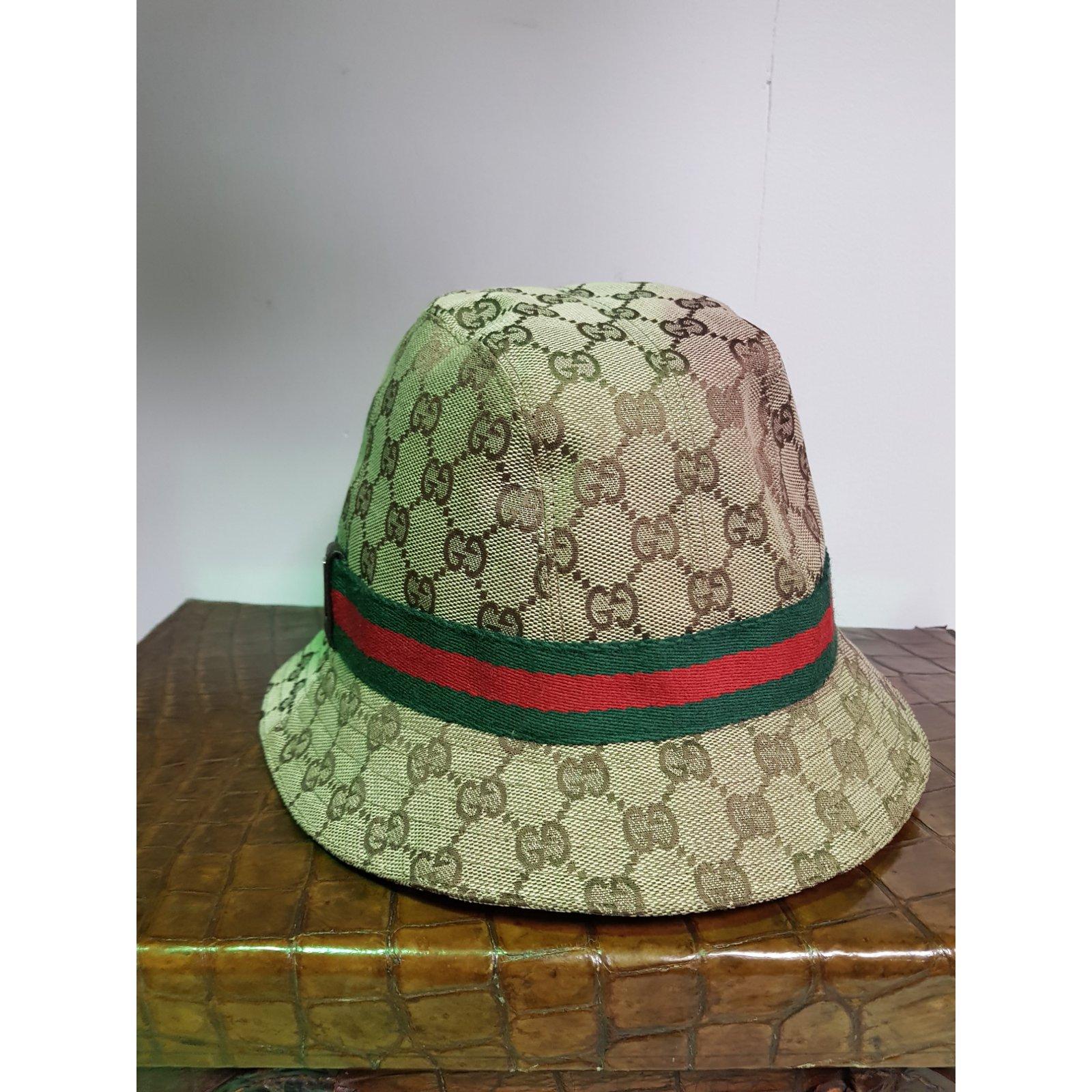 512ddd885b9 Chapeaux Gucci Chapeau Toile Beige ref.85119 - Joli Closet