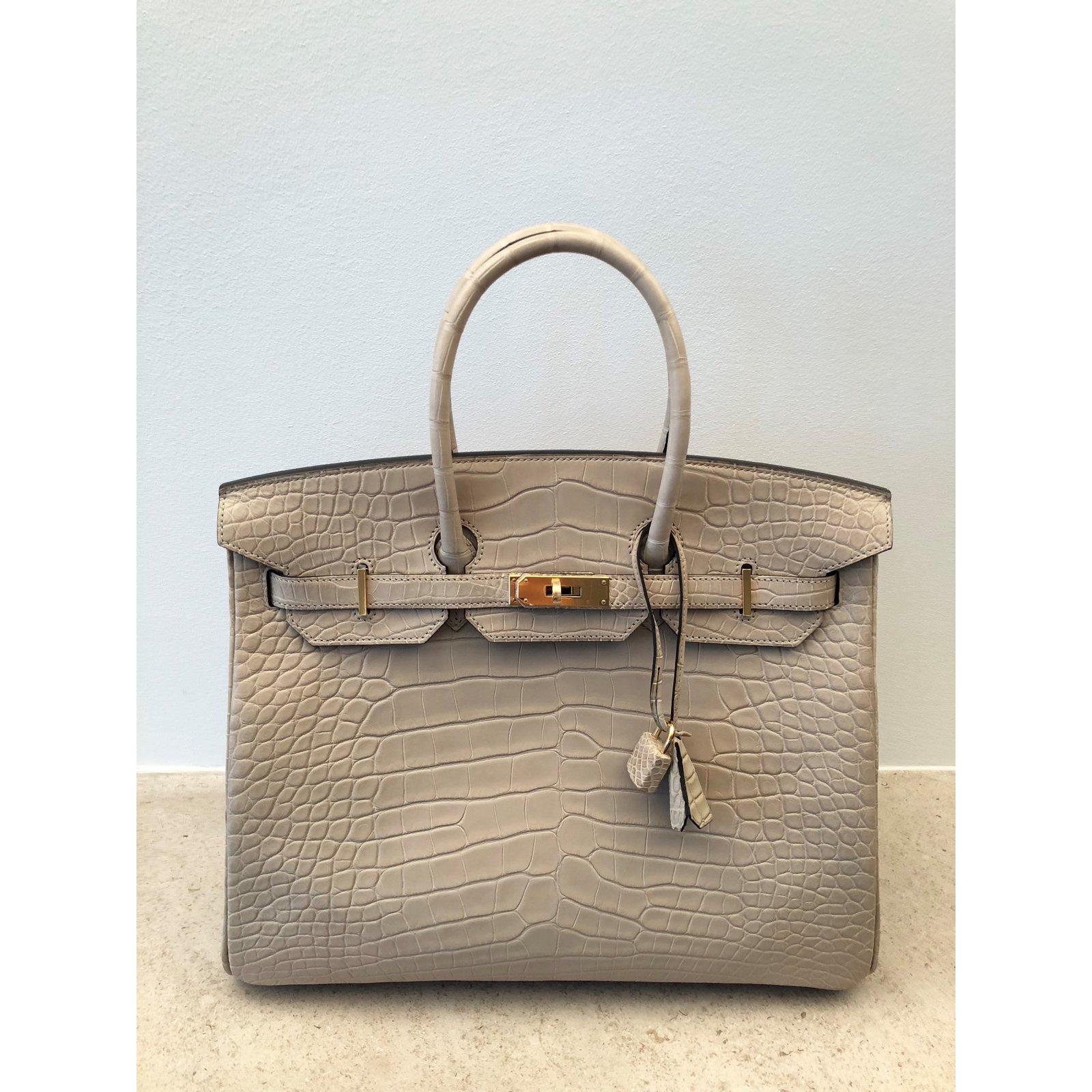 Hermès Birkin 35 cm Alligator Mat Concrete Handbags Exotic leather Beige ref.85311  - Joli Closet 245f748883890