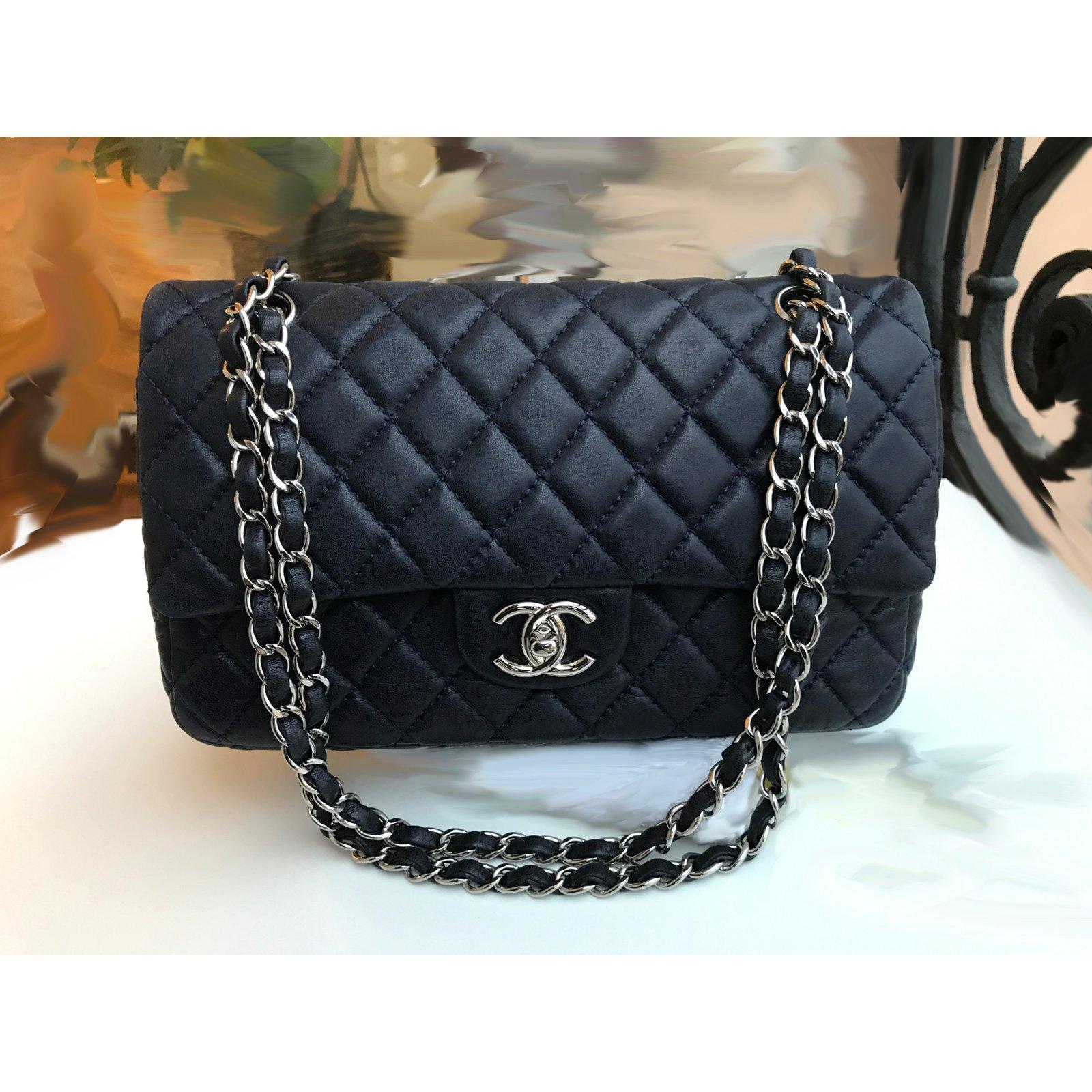 001beeb0e455a7 Chanel Medium Double Flap Timeless Bag Handbags Leather Blue,Navy ...