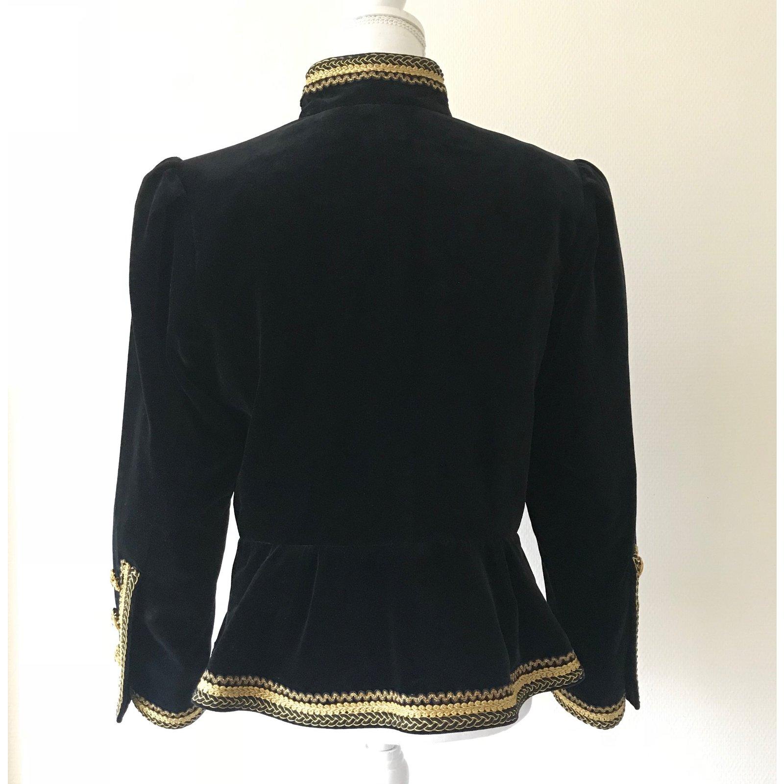 40d156c8d3d Yves Saint Laurent Velvet Jacket Jackets Velvet,Cotton Black,Golden  ref.87829 - Joli Closet