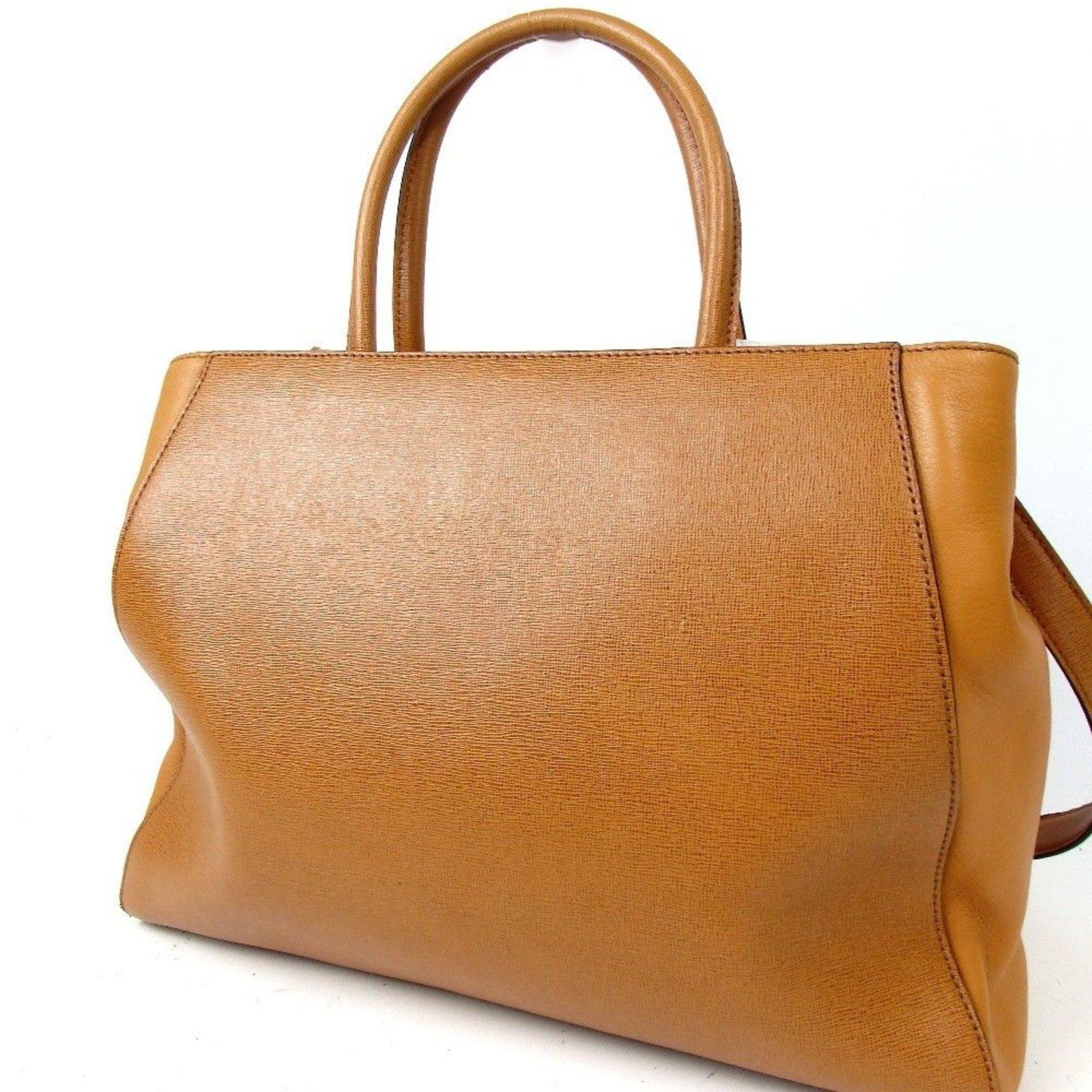 c113ebc1b58e Fendi FENDI 2way 2JOUR SHOPPING BAG Handbags Leather Cognac