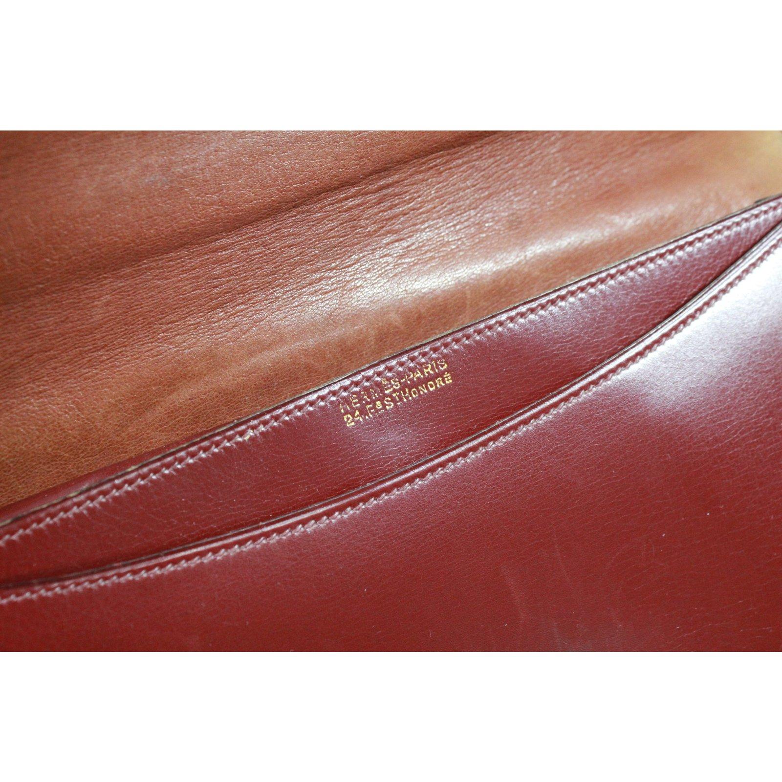 ab7c9e0dcbd4 Hermès Handbags Handbags Leather Dark red ref.88952 - Joli Closet