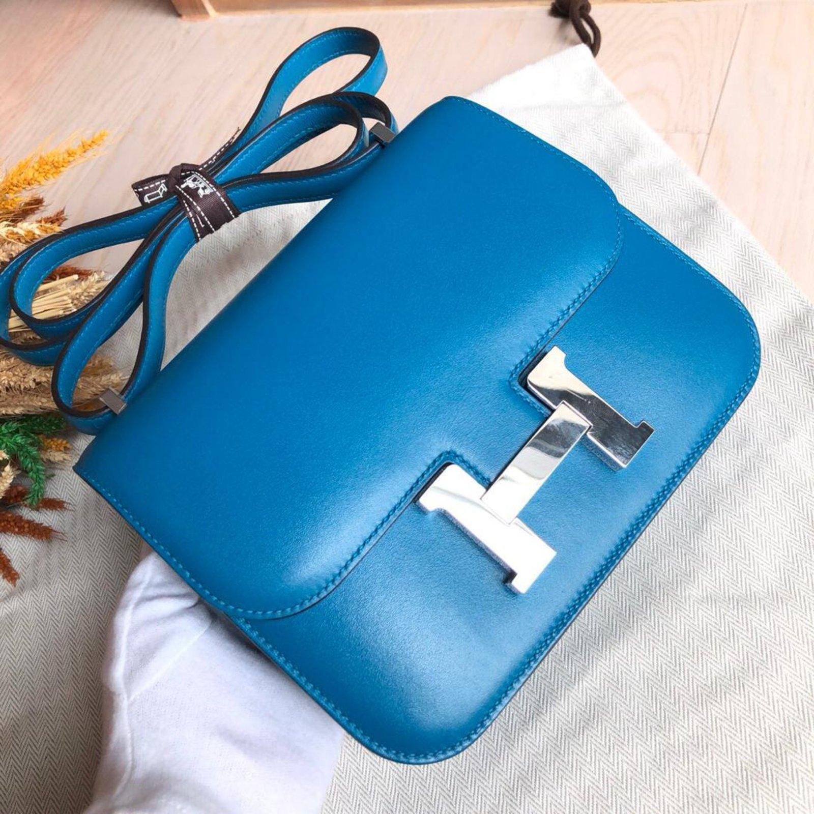 e2cfd242e6ab Hermès Constance 18 Blue Izmir Tadelakt PHW Handbags Leather Blue ref.88967  - Joli Closet
