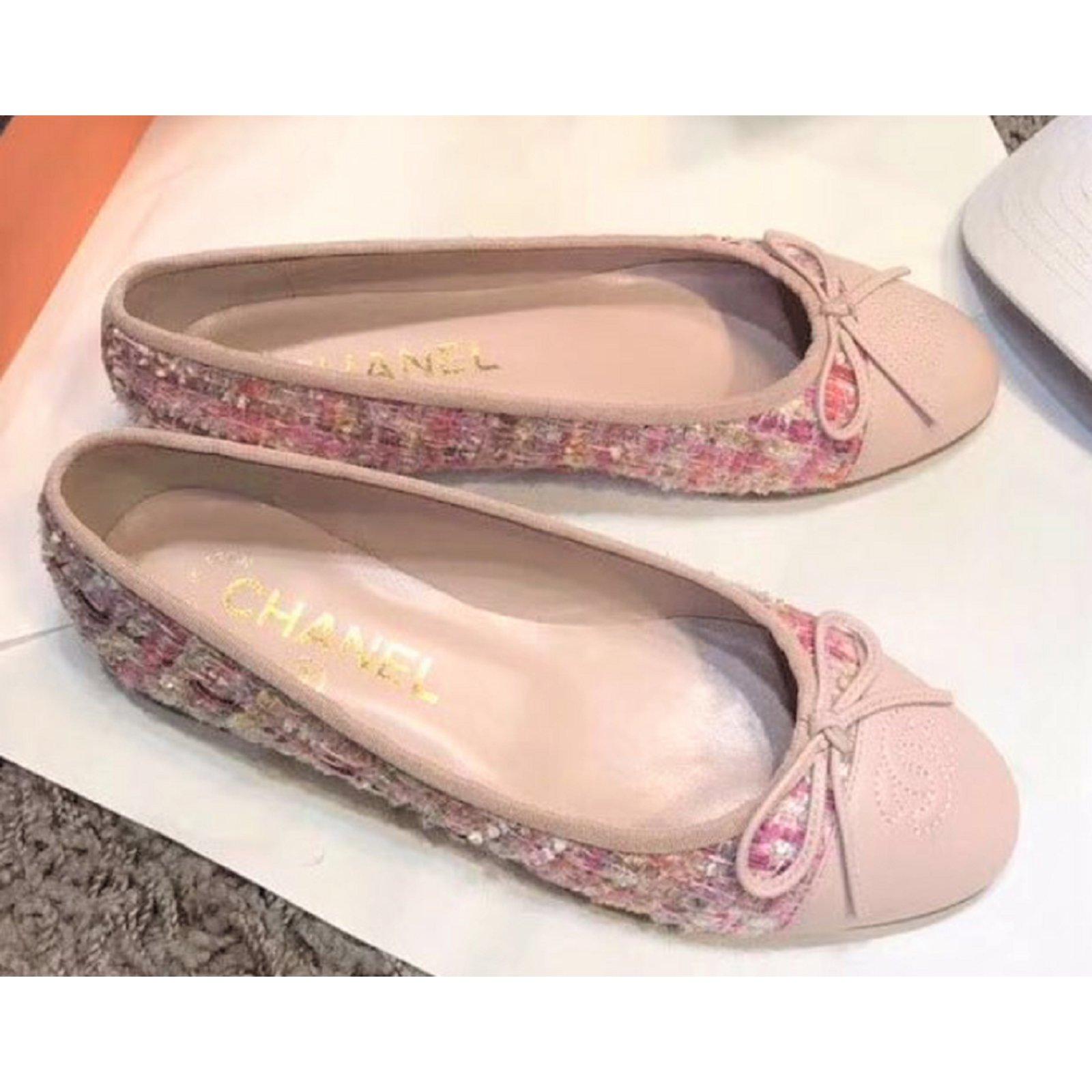 chanel flats pink