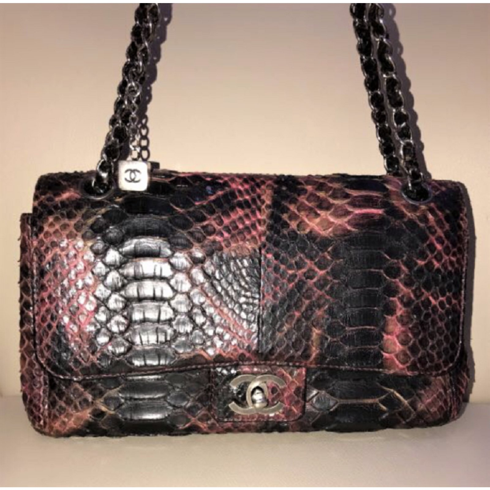 ba652601d820 Chanel Snakeskin Medium Flap bag Handbags Python Python print ref.89142 -  Joli Closet