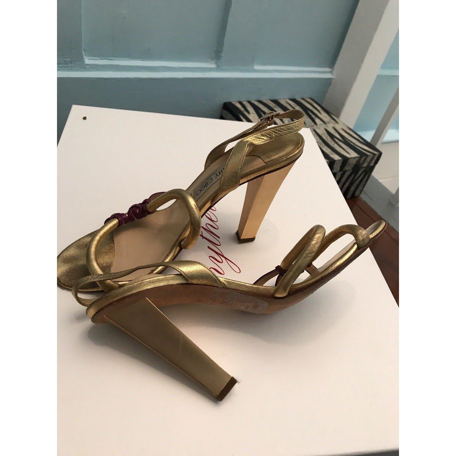 d2019623d017 Jimmy Choo Golden Evening Shoes Heels Leather Golden