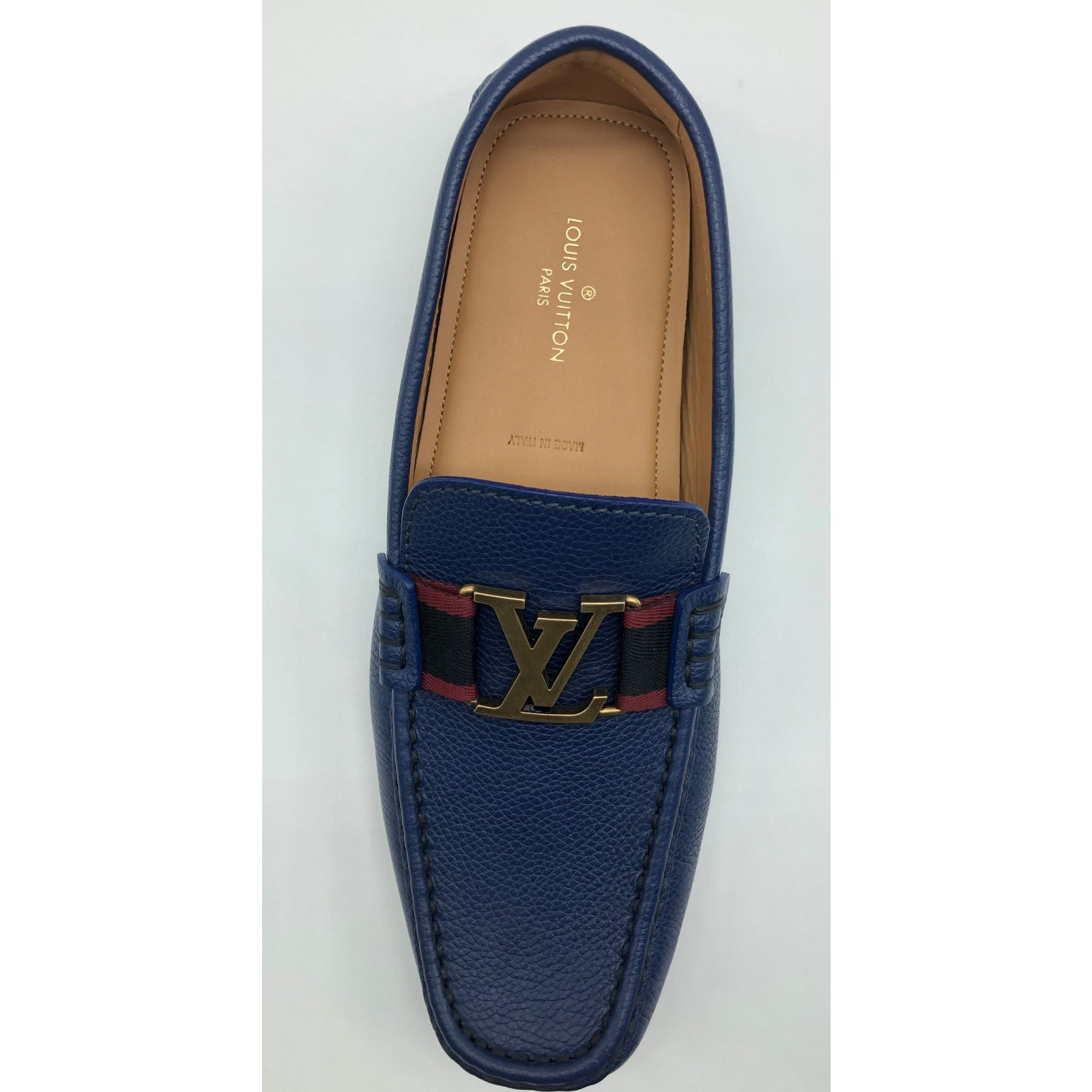 0d61cda94af5 Louis Vuitton Louis Vuitton moccasins Monte Carlo model in navy grained  leather