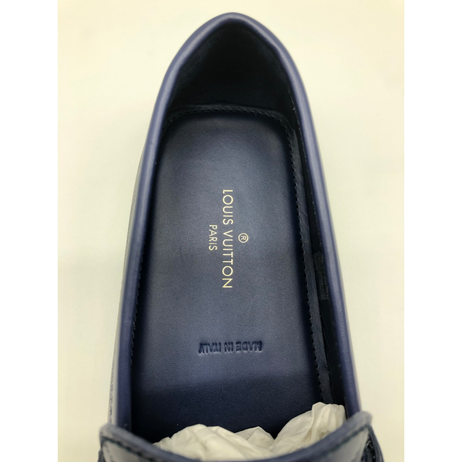 f2522f7f45d1 Louis Vuitton Louis Vuitton Hockenheim model moccasins in navy checkered  leather