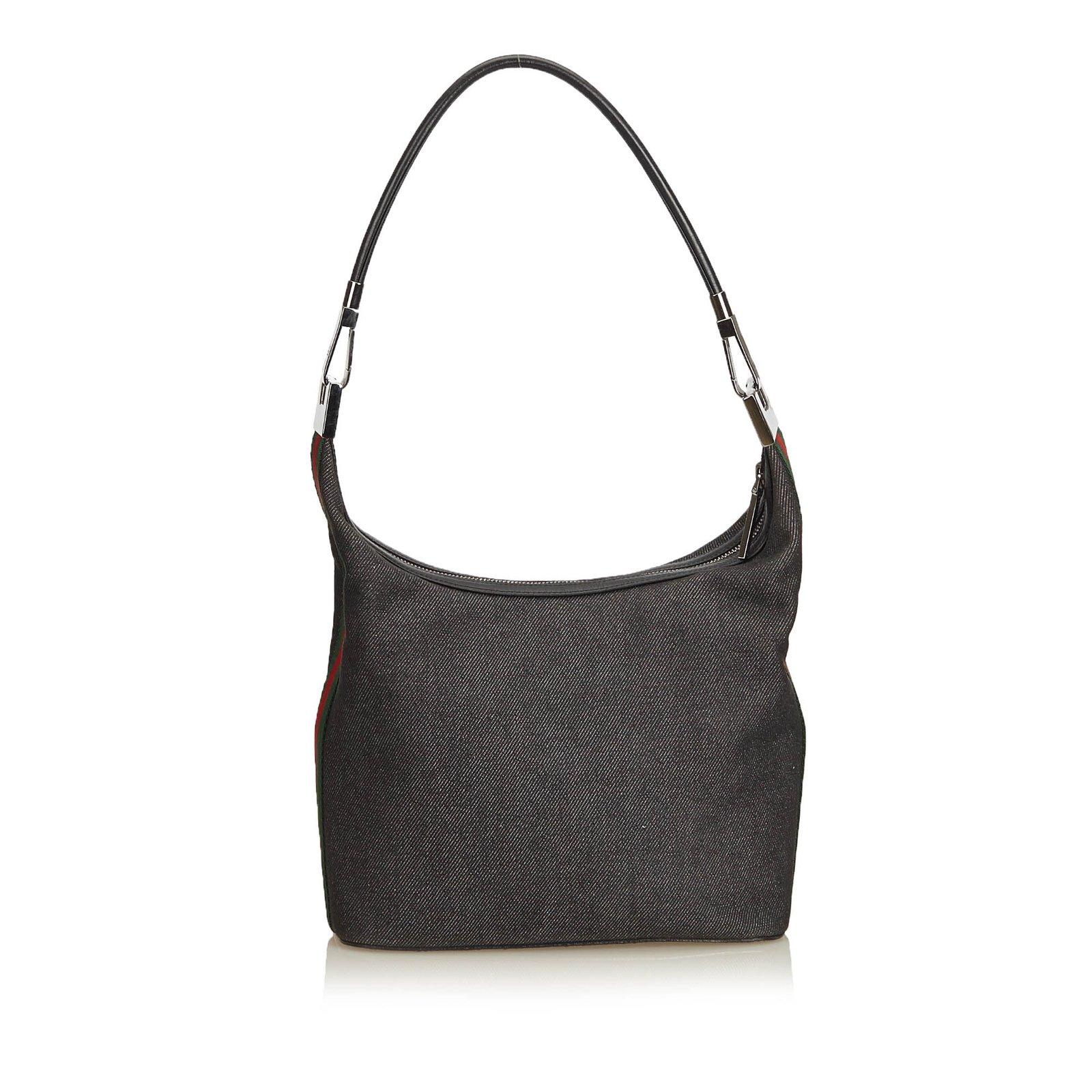 Gucci Web Denim Shoulder Bag Handbags Leather Other Cloth Multiple Colors Grey Ref 90715 Joli Closet