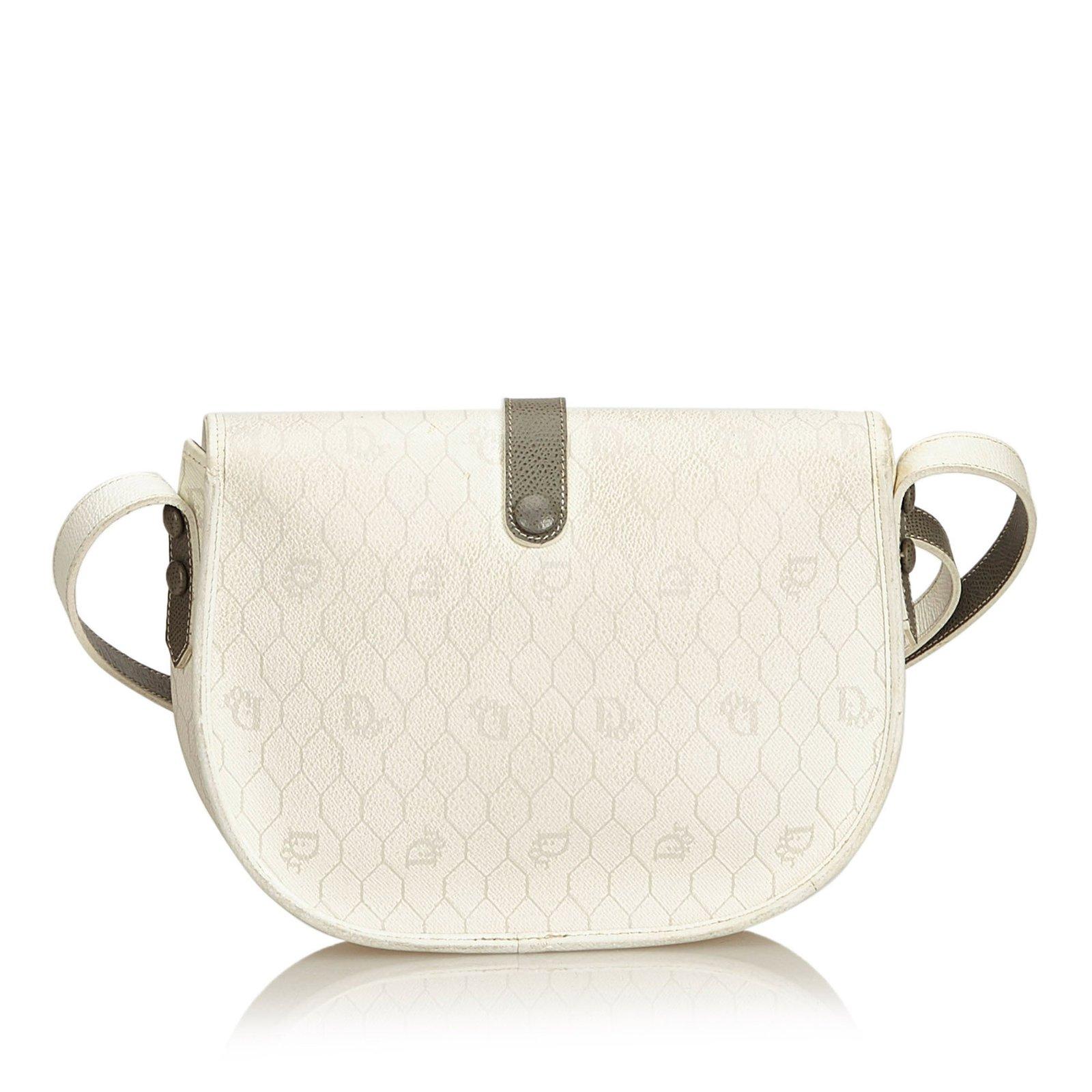 Dior Honeycomb Coated Canvas Crossbody Bag Handbags  Leather,Other,Cloth,Cloth White,Other,Grey,Cream ref.91547 - Joli Closet 81605b2a7c