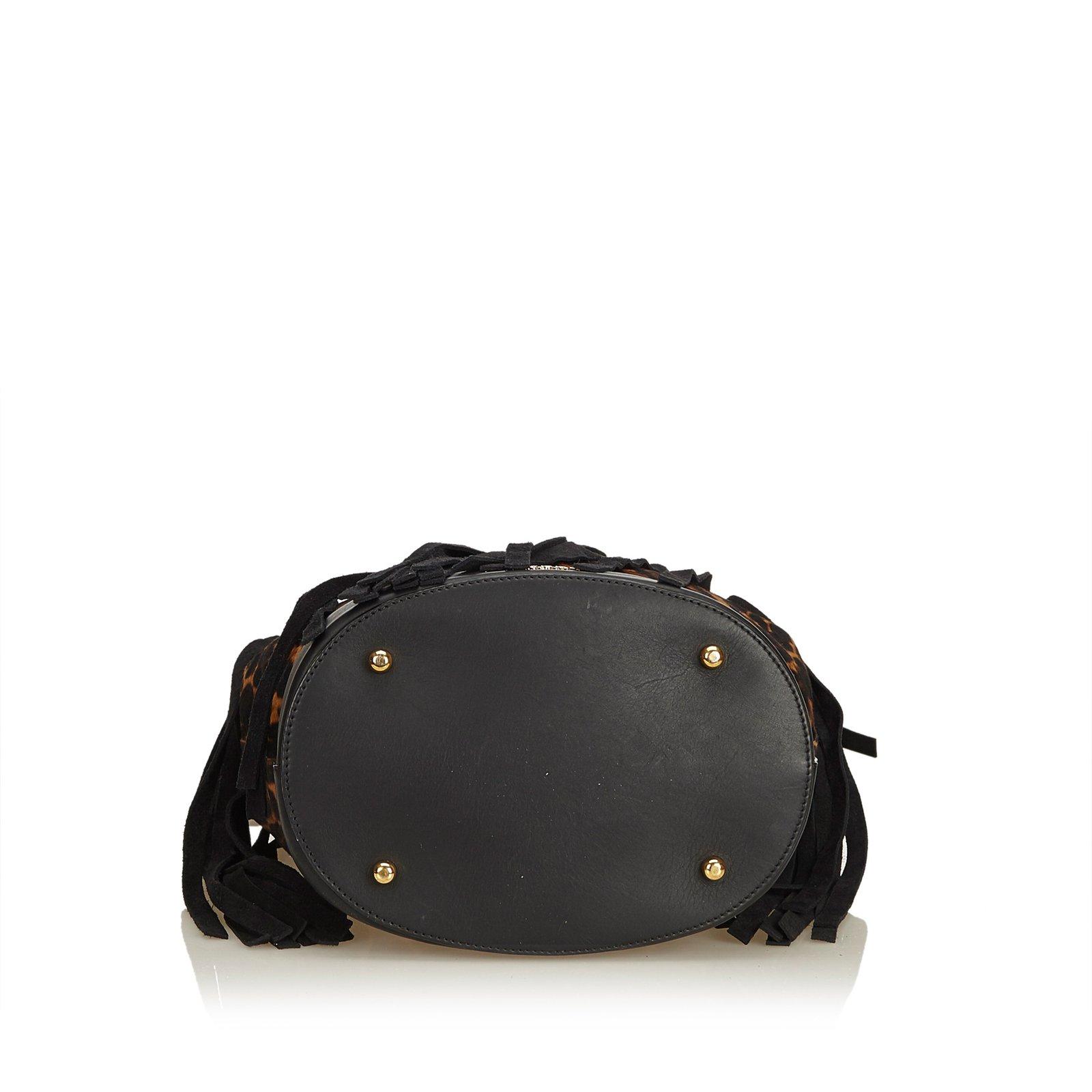 Sacs à main Burberry Sac à main à franges imprimé léopard Suede,Cuir,Autre  Marron,Noir ref.91550 - Joli Closet 0cb4abd8be