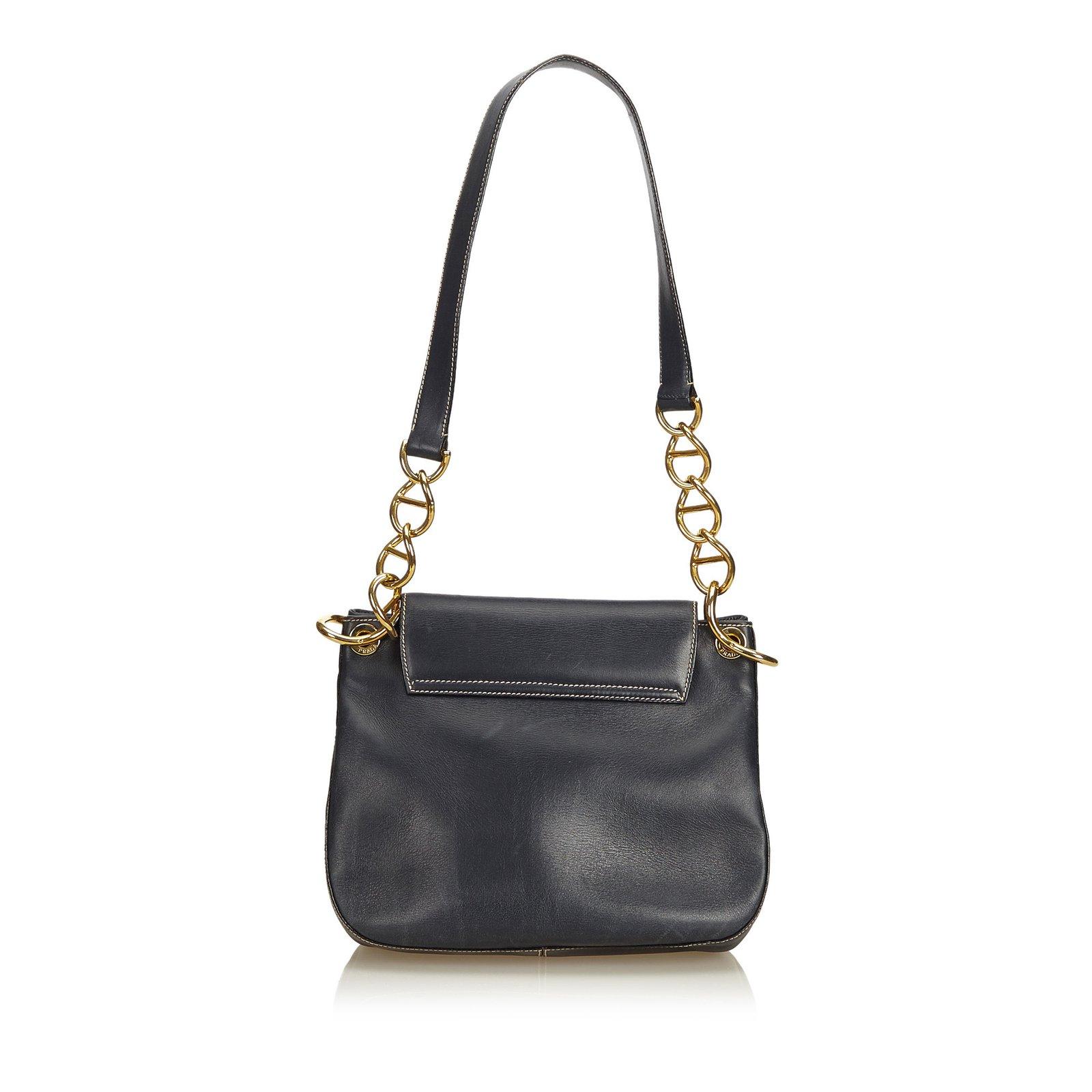 f9d1e4d920ff Prada Calf Leather Chain Shoulder Bag Handbags Leather,Silver,Metal ...