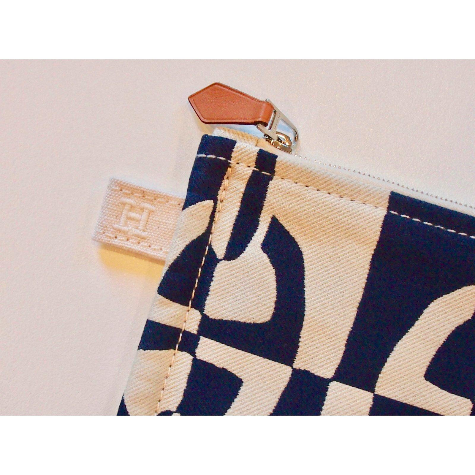 d2c4124bb840 Facebook · Pin This. Hermès Large model Atlantic pouch Clutch bags Cotton  Dark blue ...