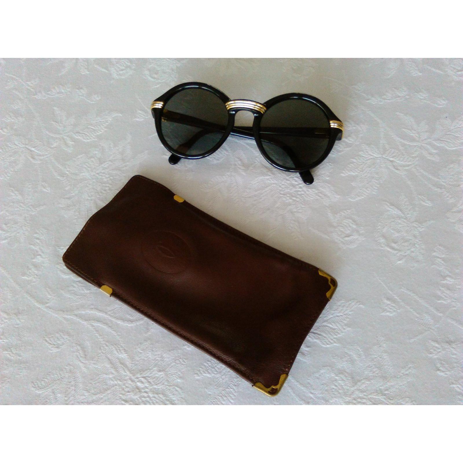 68a489be11 Lunettes Cartier Cabriolet Black / Lunettes de soleil Vintage / Lunettes de  soleil Legendery '90 Plastique,Plaqué or Noir ref.92192 - Joli Closet