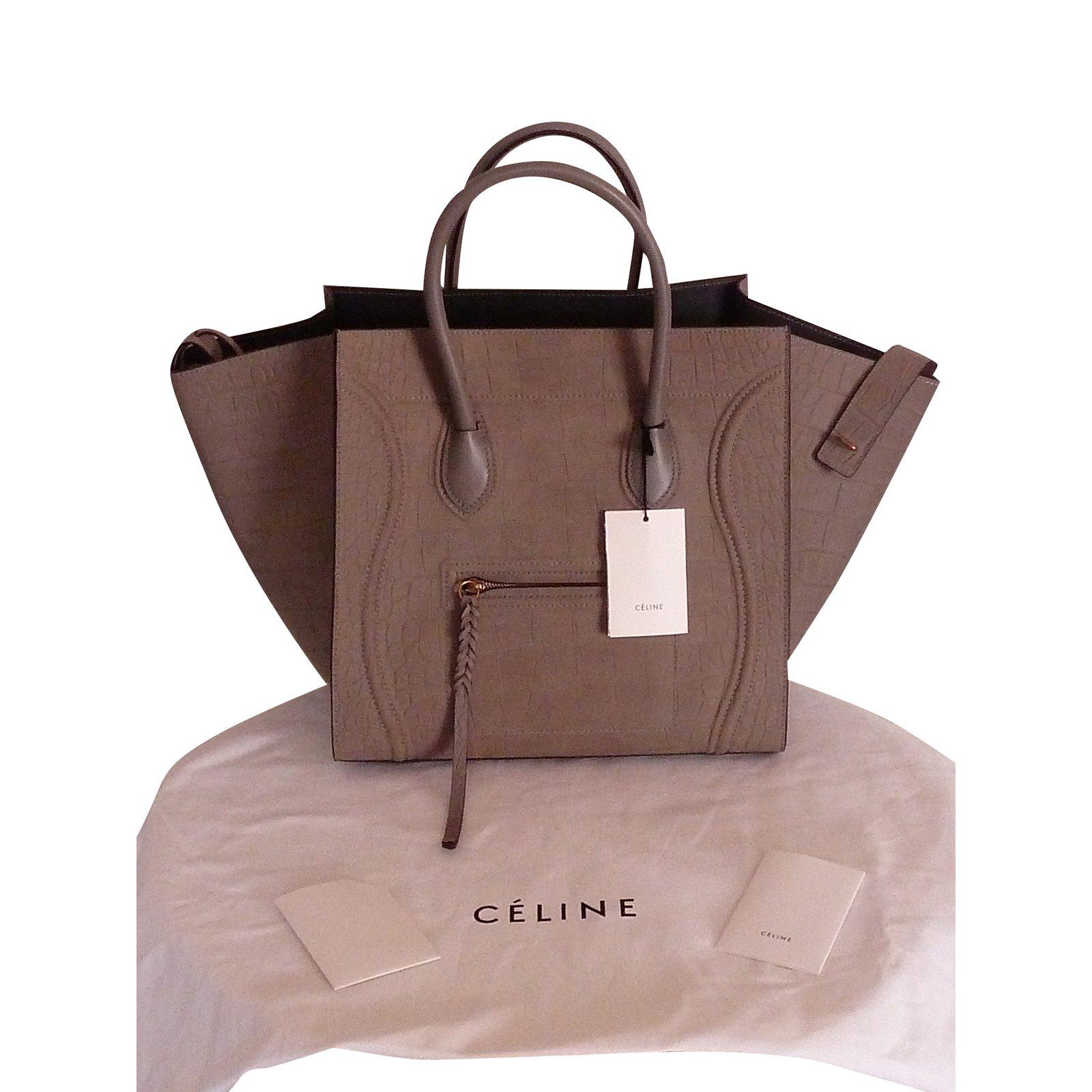 Closet Luggage À Gris Phantom Céline Cuir Sacs Joli Effet Croco 93113 Ref Main On7xxW