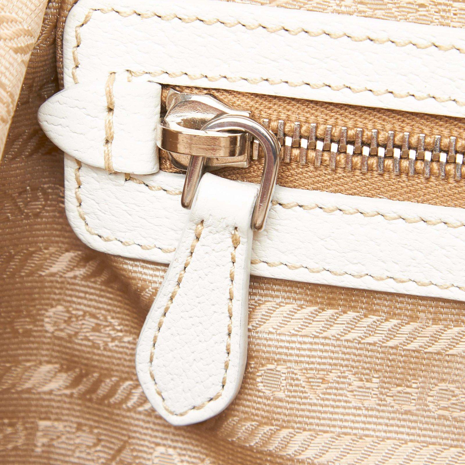 73e4b1e0ddbb Prada Coated Canvas Shoulder Bag Handbags Leather,Other,Cloth,Cloth  Brown,White,Beige,Cream ref.93149 - Joli Closet