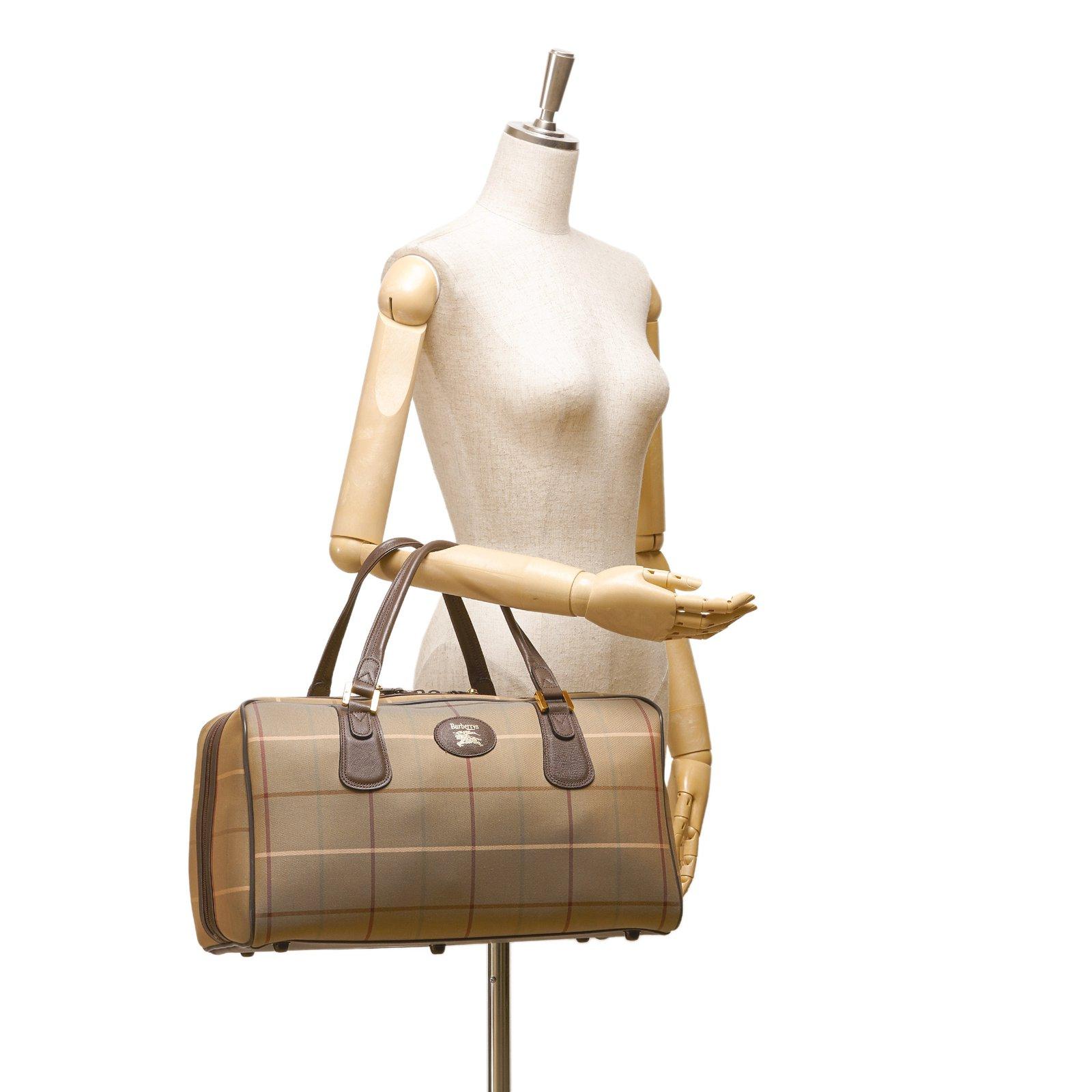 fc5aca2b8d3a Sacs de voyage Burberry Sac de sport en coton à carreaux  Cuir,Autre,Coton,Tissu Marron,Multicolore,Kaki ref.93502 - Joli Closet