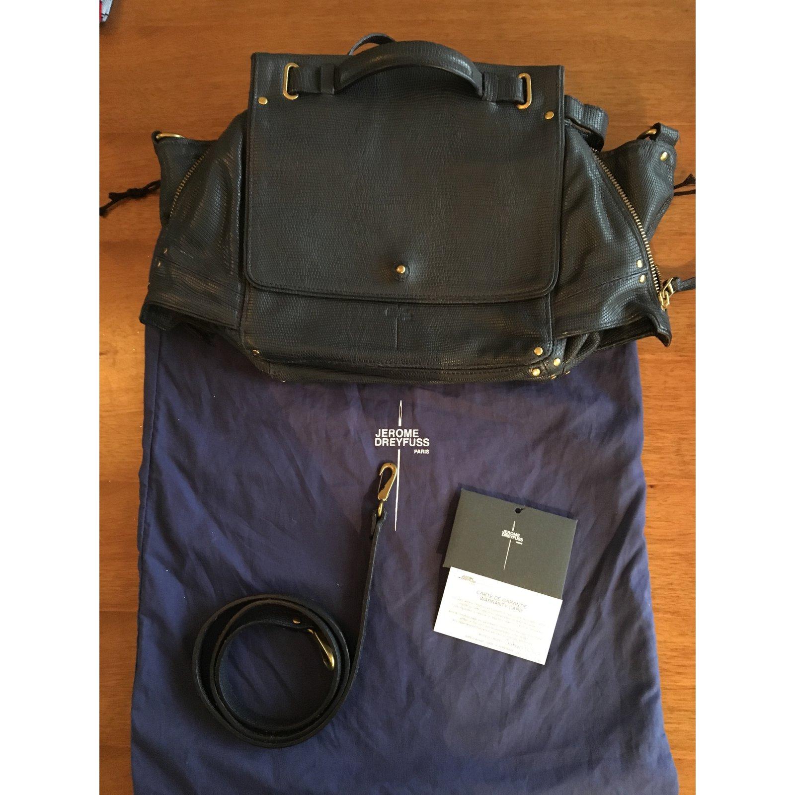 0c10aa0608bae Jerome Dreyfuss Johan Handbags Leather Navy blue ref.93585 - Joli Closet