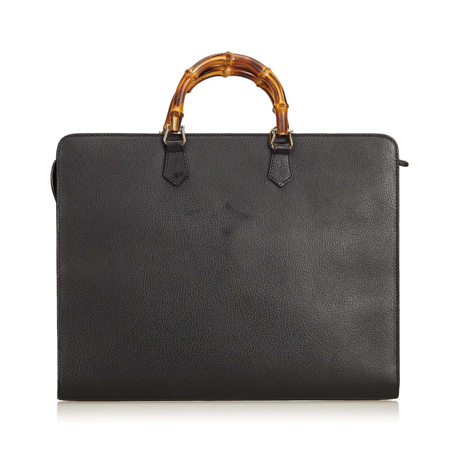 Sacs de voyage Gucci Sac d affaires en bambou Cuir,Autre Noir ref.93692 -  Joli Closet b4115ed706b