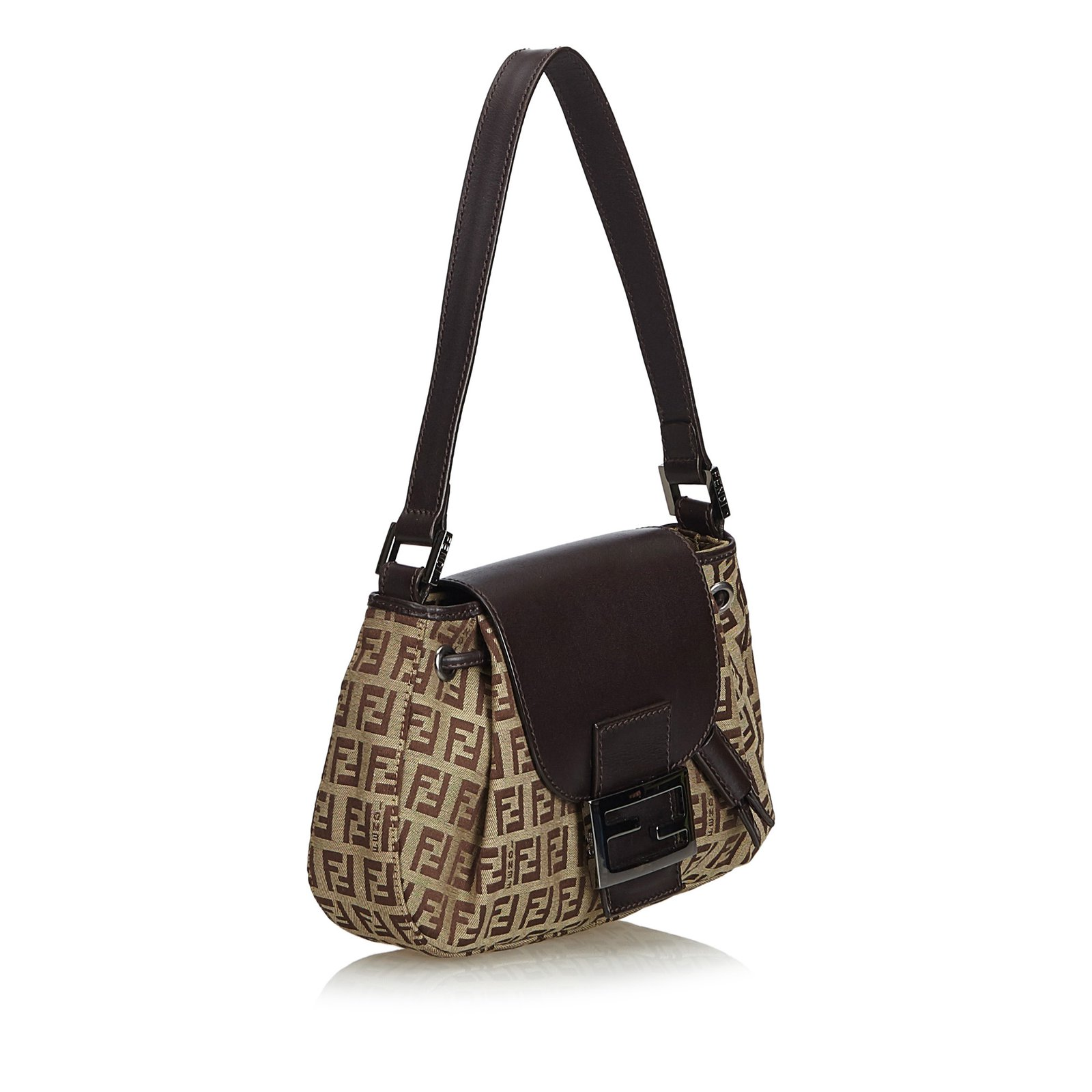 b35ea463de00 Fendi Zucchino Jacquard Shoulder Bag Handbags Leather