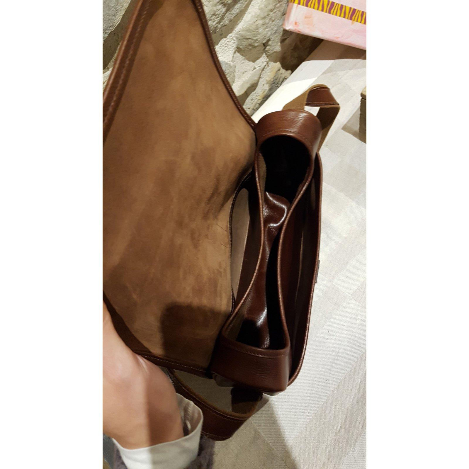 cd4d25997fc6 Hermès Nouméa leather bag courchevel chocolate Handbags Leather Brown  ref.94659 - Joli Closet