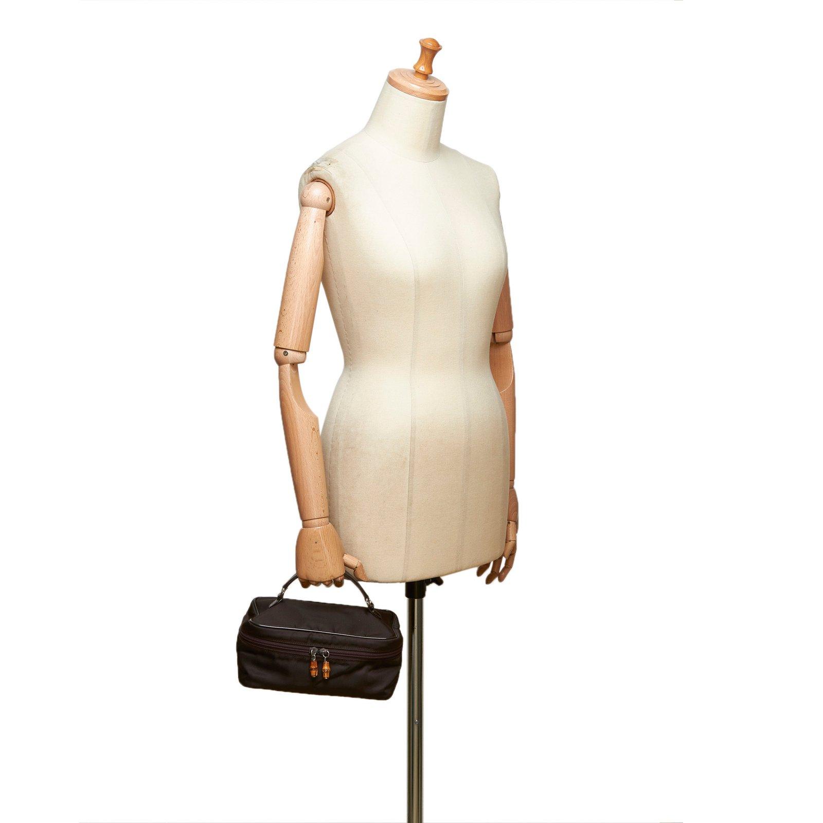 2587ca87971b12 Gucci Bamboo Nylon Vanity Bag Handbags Leather,Other,Nylon,Cloth Brown,Dark  brown ref.98265 - Joli Closet