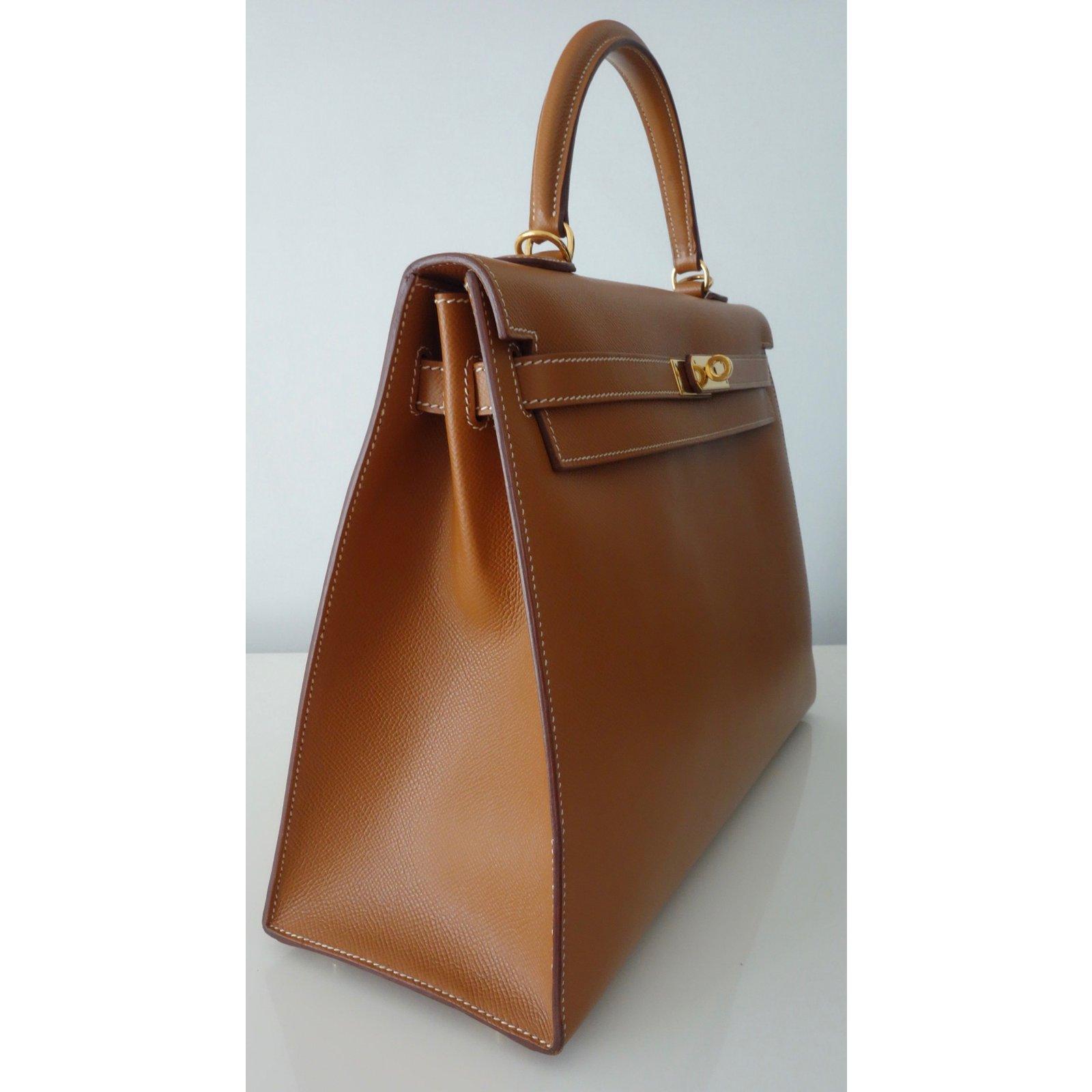 Hermès SAC HERMES KELLY 35 Handbags Leather Golden ref.98509 - Joli Closet a53ead5c3e3