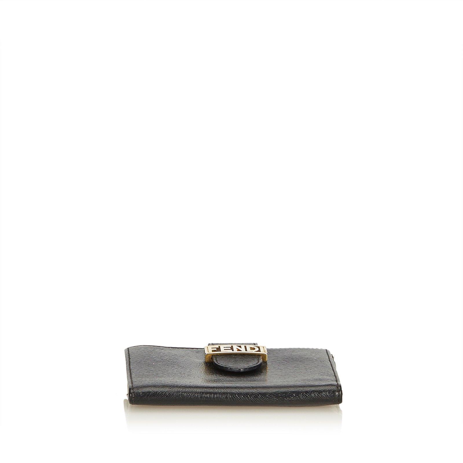 af904415f076 Fendi Embossed Leather Short Wallet Wallets Leather
