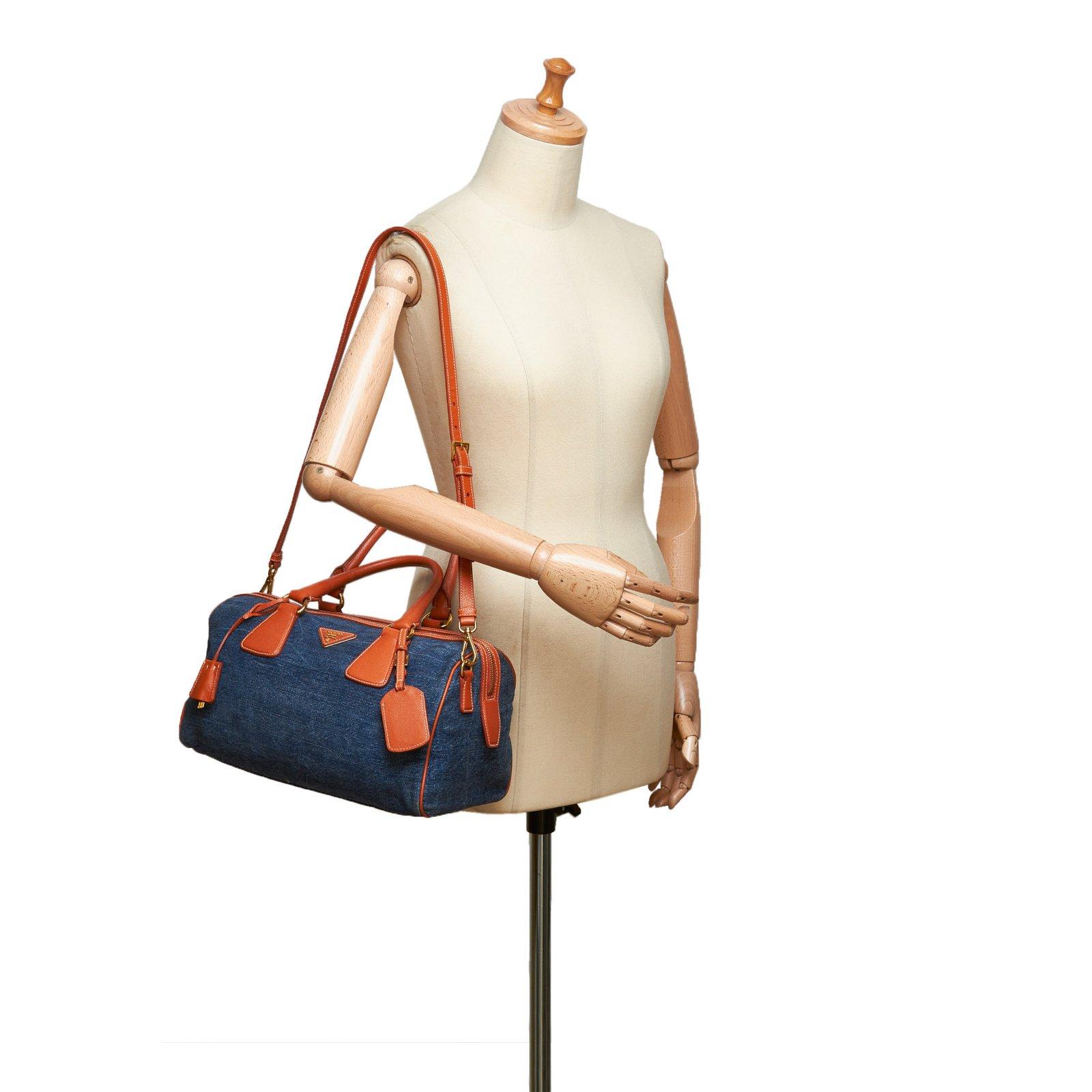 fed57f4dc66a Prada Denim Satchel Handbags Leather,Other,Denim,Cloth Blue,Other,Orange  ref.99197 - Joli Closet