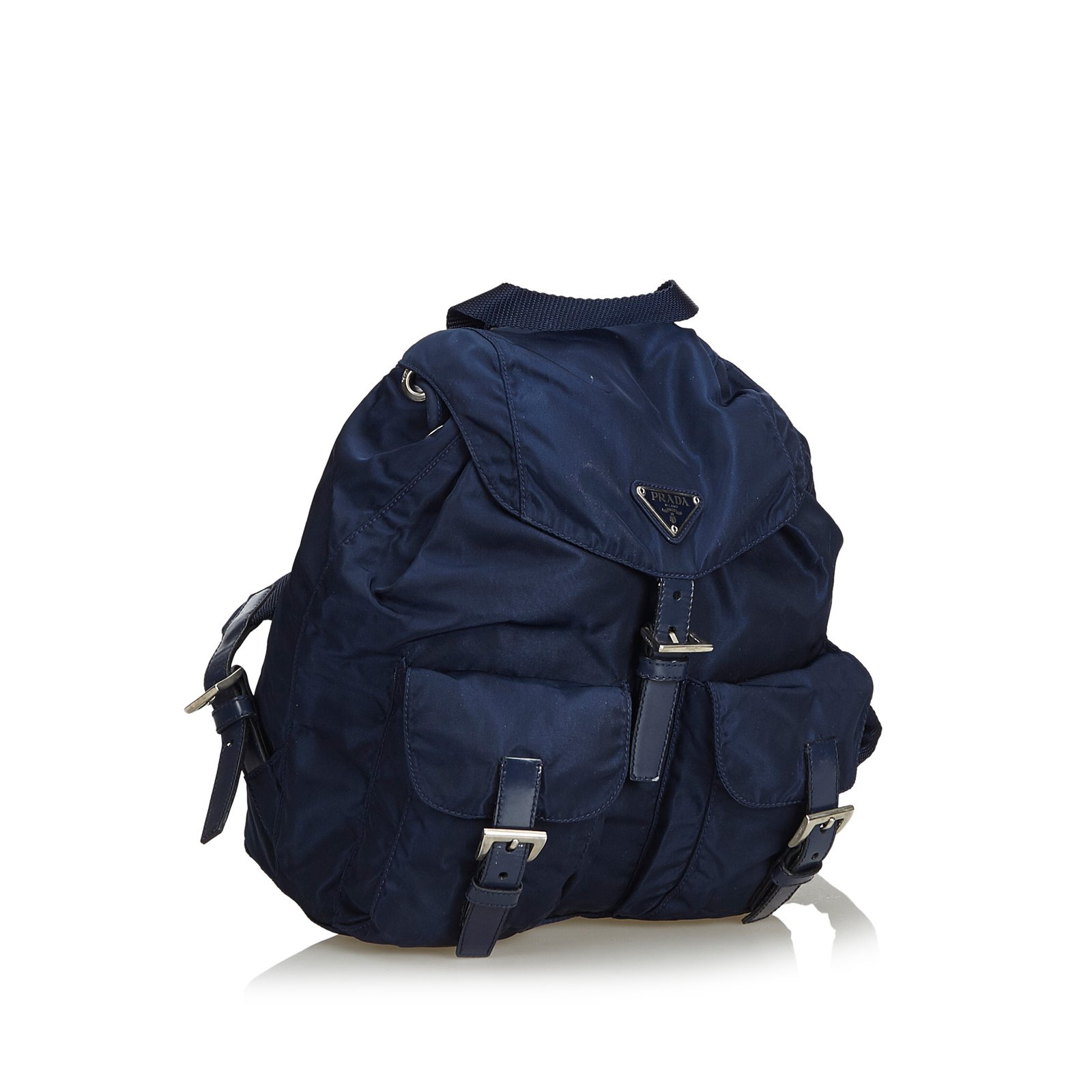 5f1621c053aa4c Prada Nylon Backpack Backpacks Leather,Other,Nylon,Cloth Blue,Navy blue  ref.99257 - Joli Closet