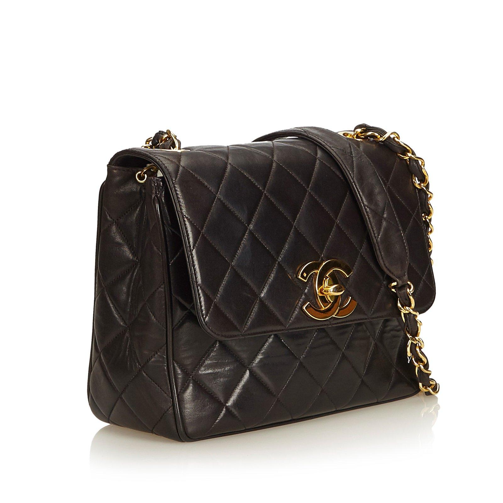 485107c720d3 Chanel Matelasse Lambskin Chain Crossbody Flap Bag Handbags Leather Black  ref.100130 - Joli Closet
