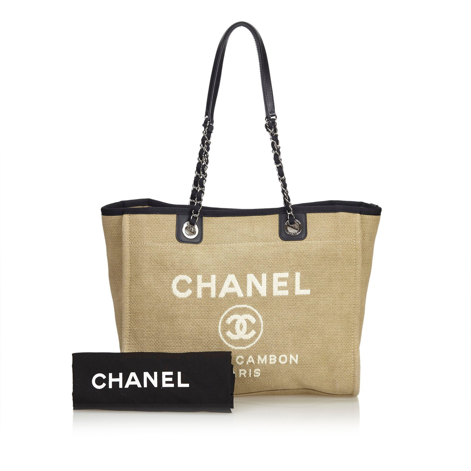 4e979ca29c3d Chanel Small Deauville Tote Totes Leather,Other,Cloth,Cloth Brown,Black, Beige ref.100780 - Joli Closet
