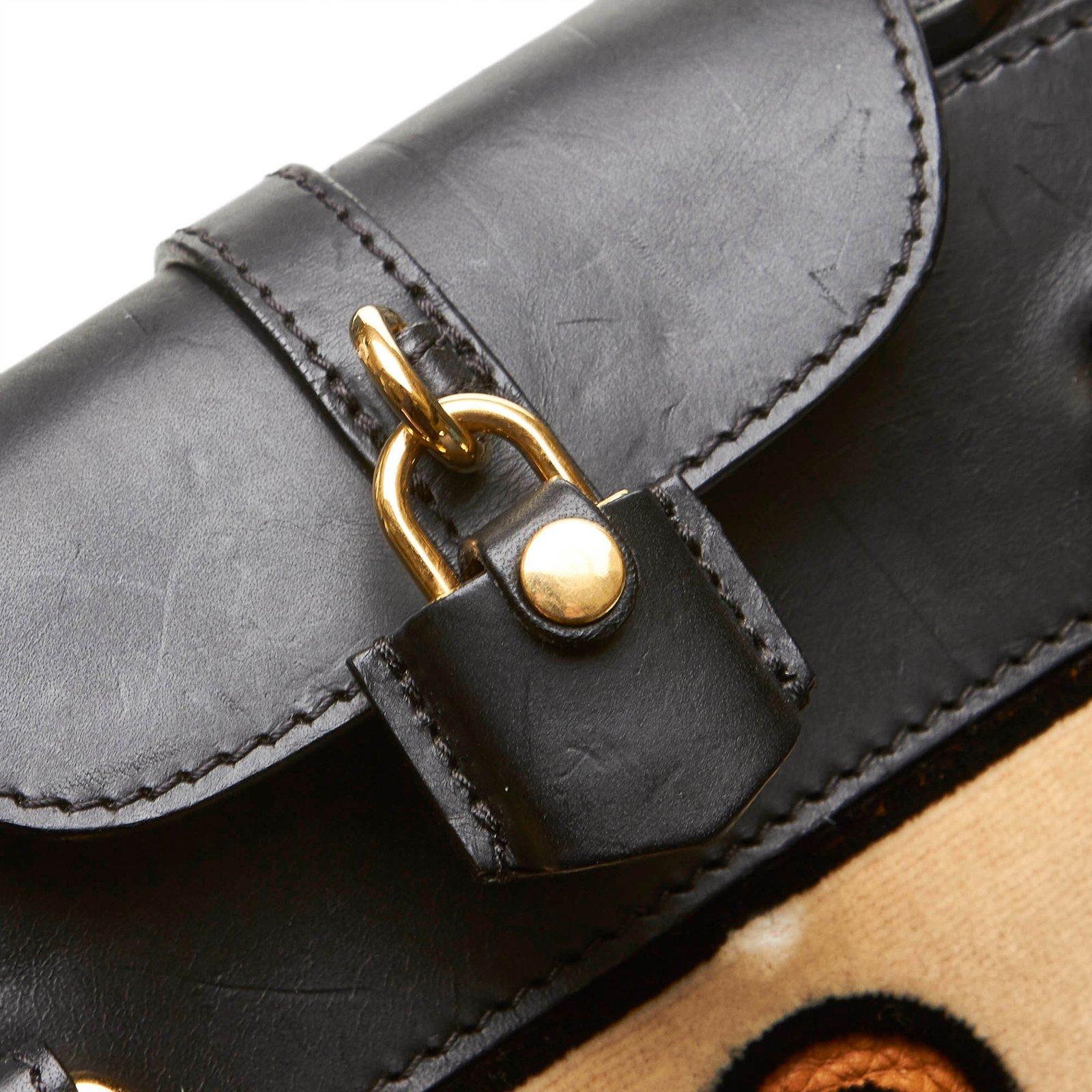 Burberry Milverton Satchel Handbags Leather,Other,Velvet,Cloth Black,Orange  ref.101099 - Joli Closet 467718b4db