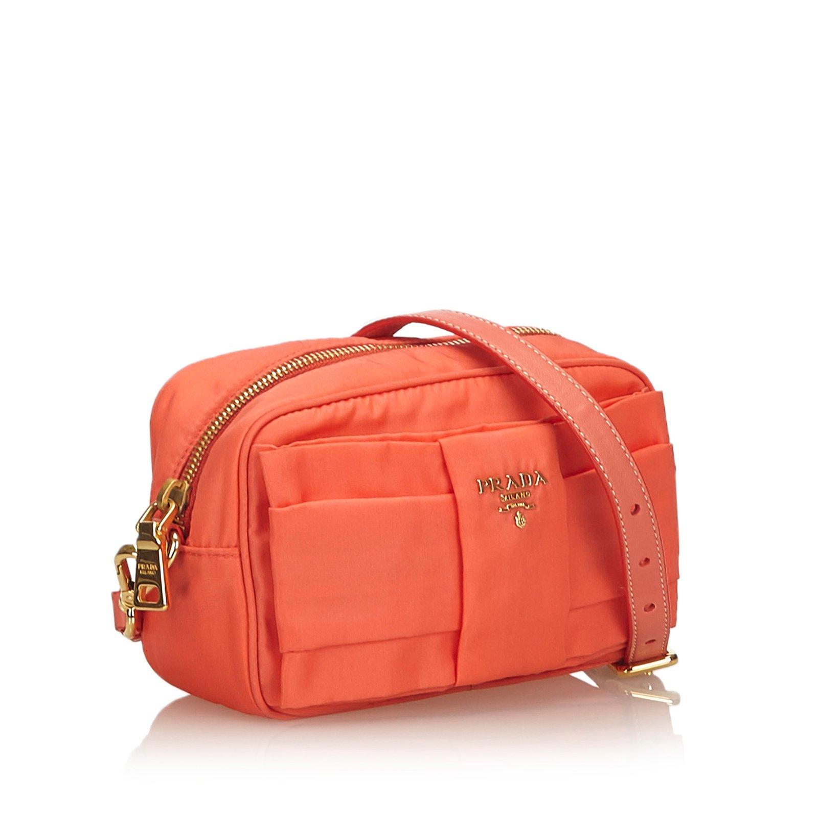 f38a88f6e2c7 Prada Nylon Bow Crossbody Bag Handbags Nylon,Cloth Orange ref.101894 - Joli  Closet
